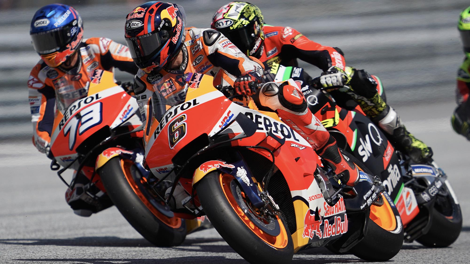 Honda riders Alex Marquez and Stefan Bradl at the 2020 MotoGP Austrian Grand Prix