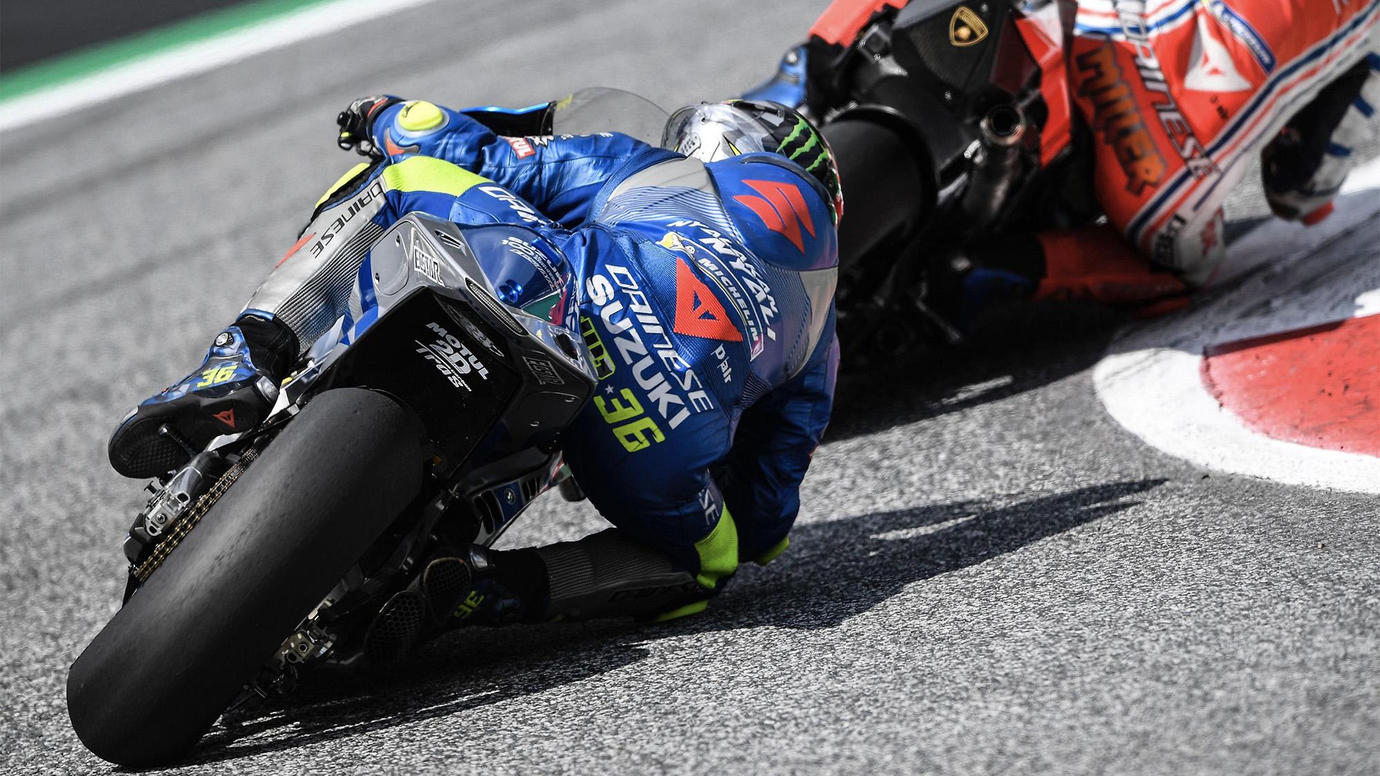 Joan Mir cornering during the 2020 MotoGP Austrian Grand Prix