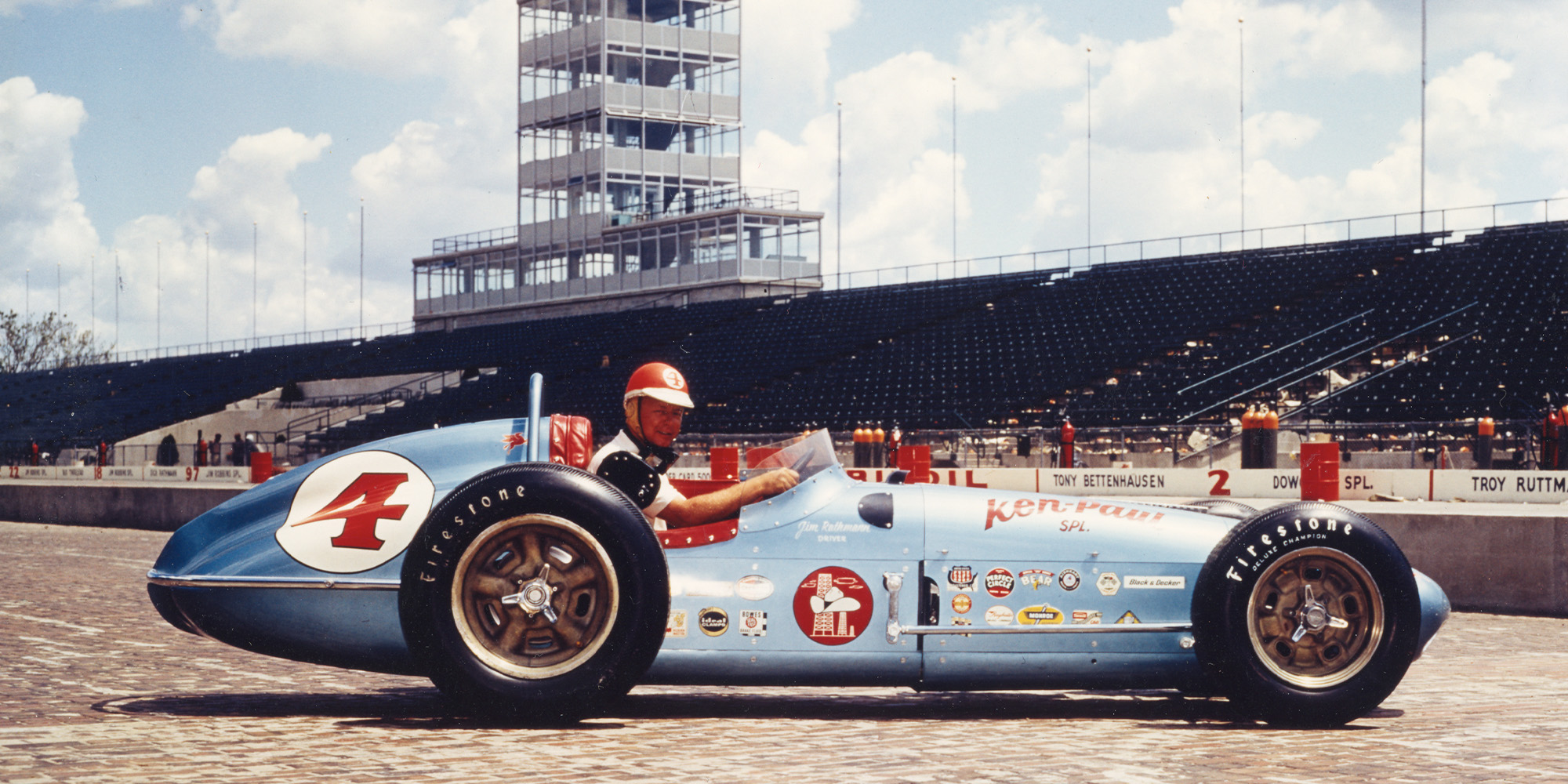 Jim Rathmann in his car portrait shot at the 1960 Indy 500