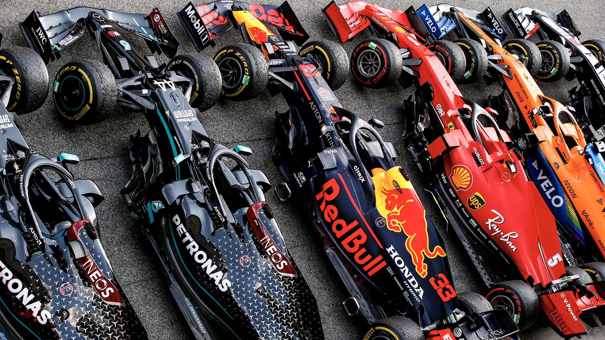 McLaren Ferrari red Bull and Mercedes cars lined up in parc ferme after the 2020 F1 Spanish Grand Prix