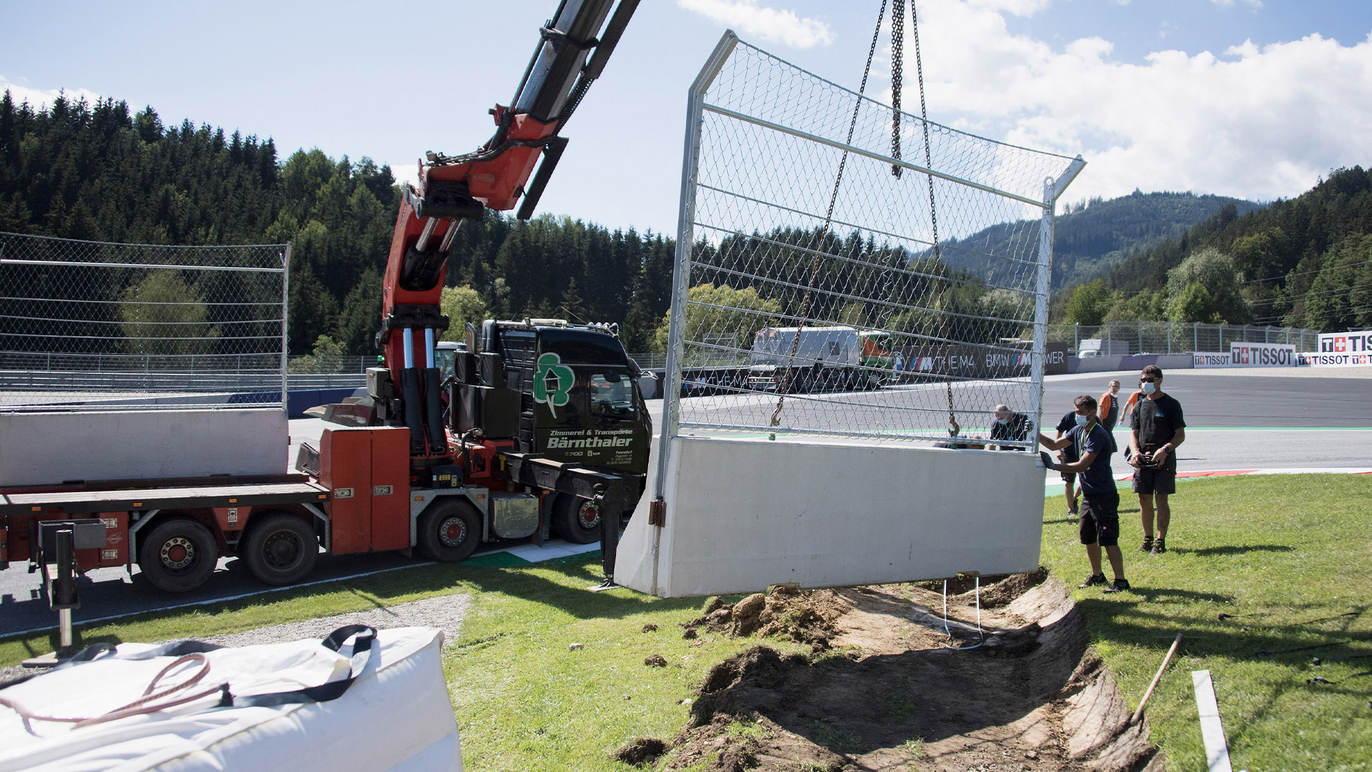 New safety wall being installed at the Red Bull Ring following the MotoGP Austrian GP crash between Franco Morbidelli and Johann Zarco