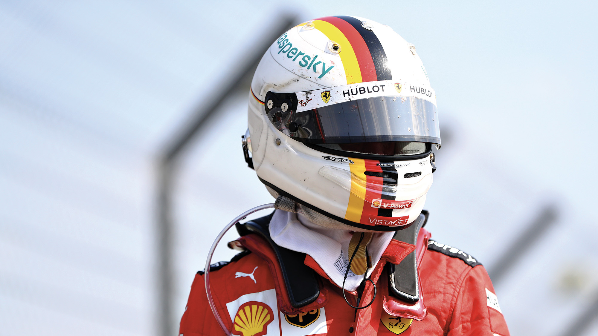 Sebastian Vettel with helmet on