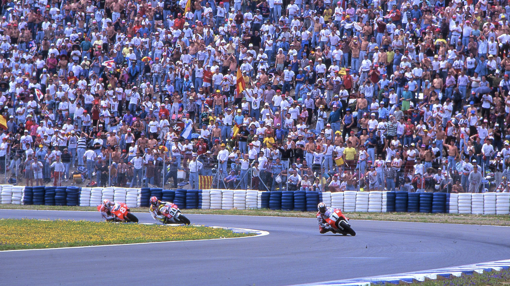 Rainey Schwantz and Criville at Jerez in 1993 which was the 450th premier class motorcycle grand prix