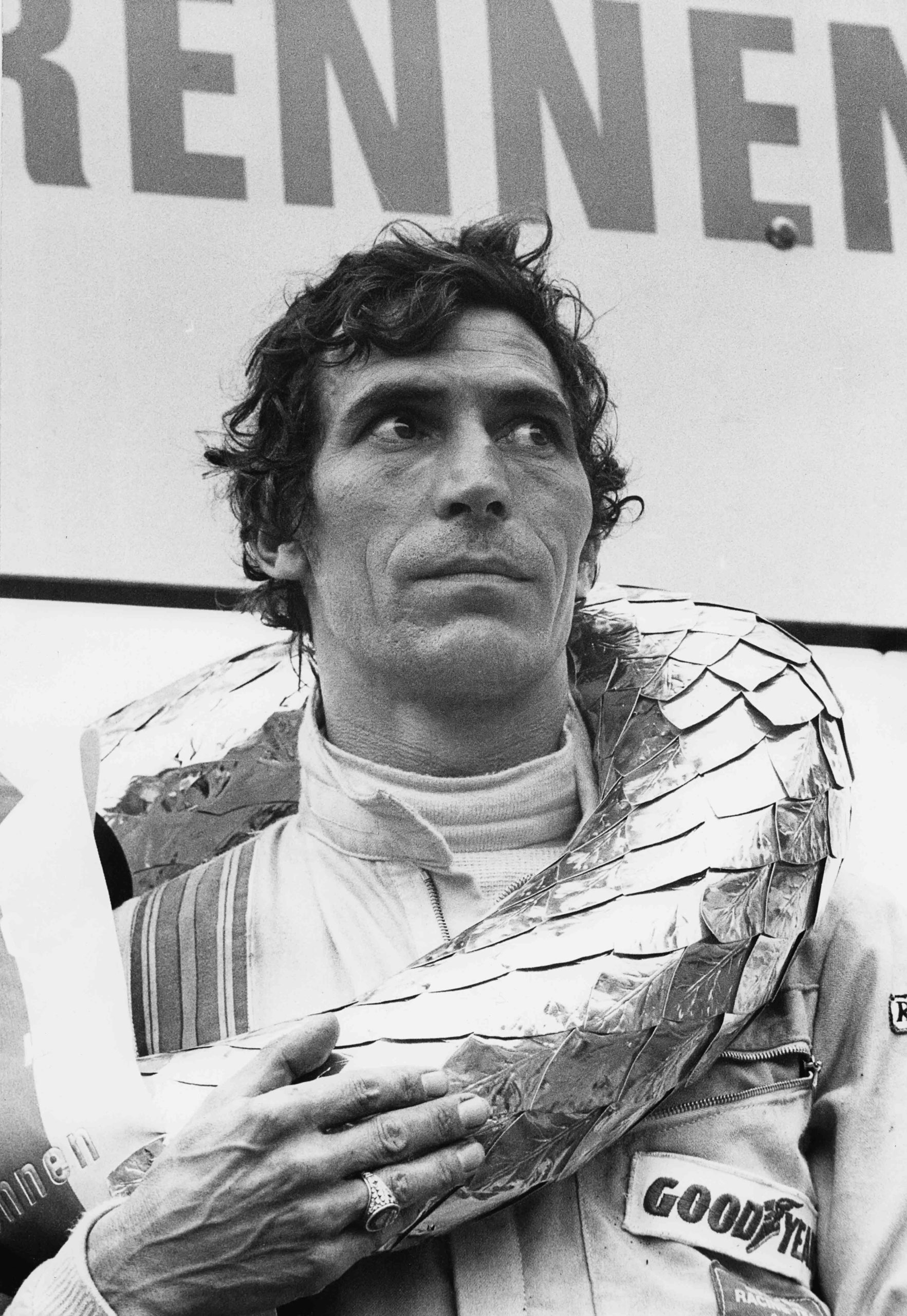 Vic Elford after his victory in the 1971 1000 Km of Nürburgring, which he won with his teammate Gerard Larrousse driving a Porsche 908/03