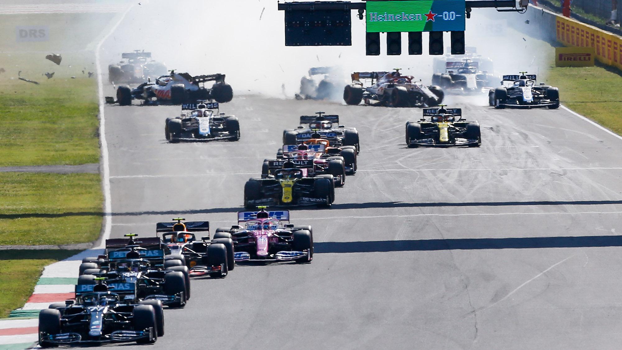Valtteri Bottas leads the 2020 F1 Tuscan Grand Prix at Mugello at the safety car restart as Kevin Magnussen, Antonio Giovinazzi and Carlos Sainz crash behind him