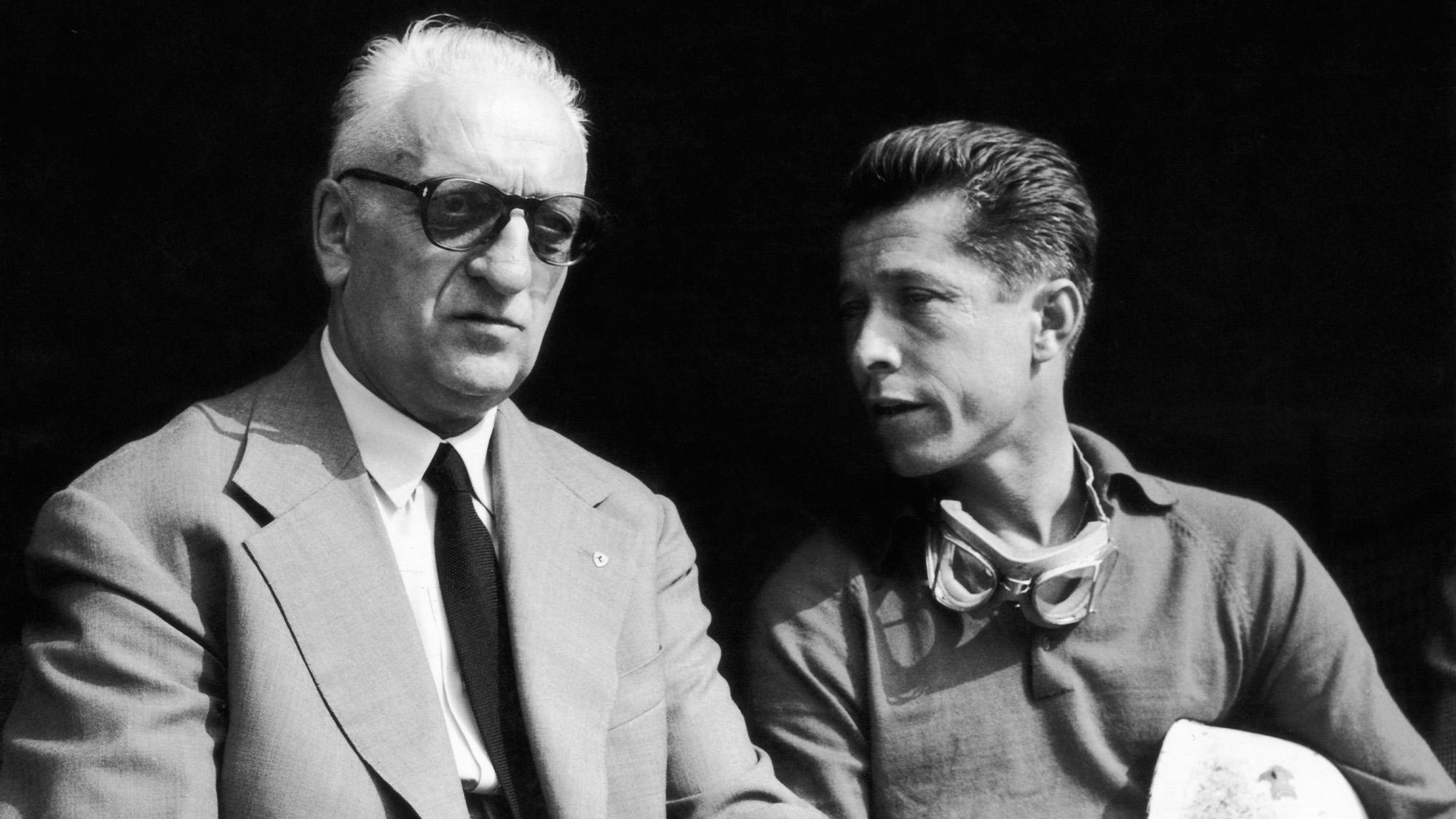 Enzo Ferrari with Olivier Gendebien at Monza in September 1959