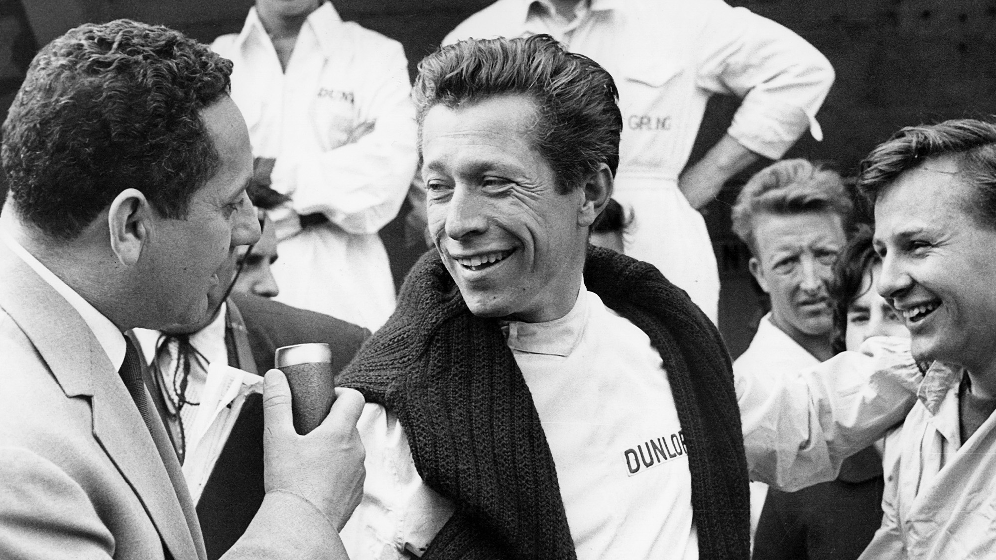 Olivier Gendebien with Bruce Mclaren at Reims-Gieux for the 1960 French Grand Prix