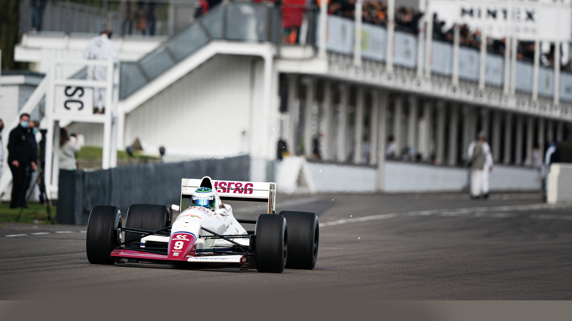 Nick Padmore at the 2020 Goodwood SpeedWeek in the Arrows F1 car he used to set the circuit lap record