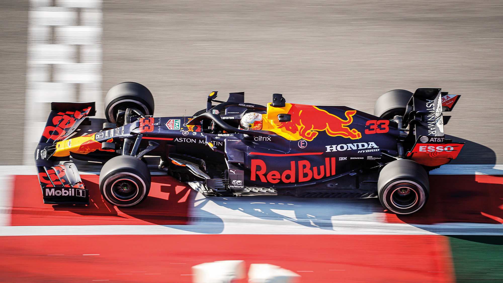 Max Verstappen in the 2020 Red Bull F1 car