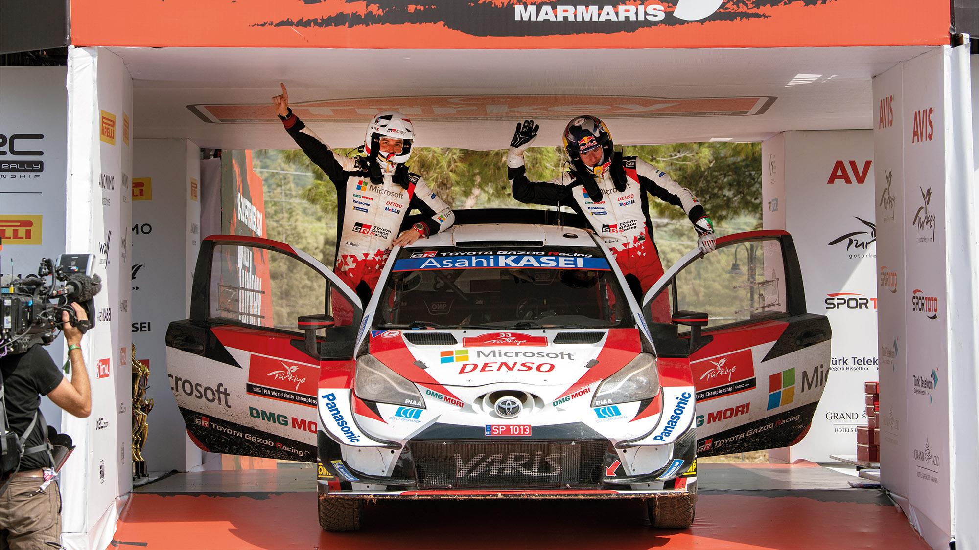 Elfyn Evans celebrates victory in Rally Turkey