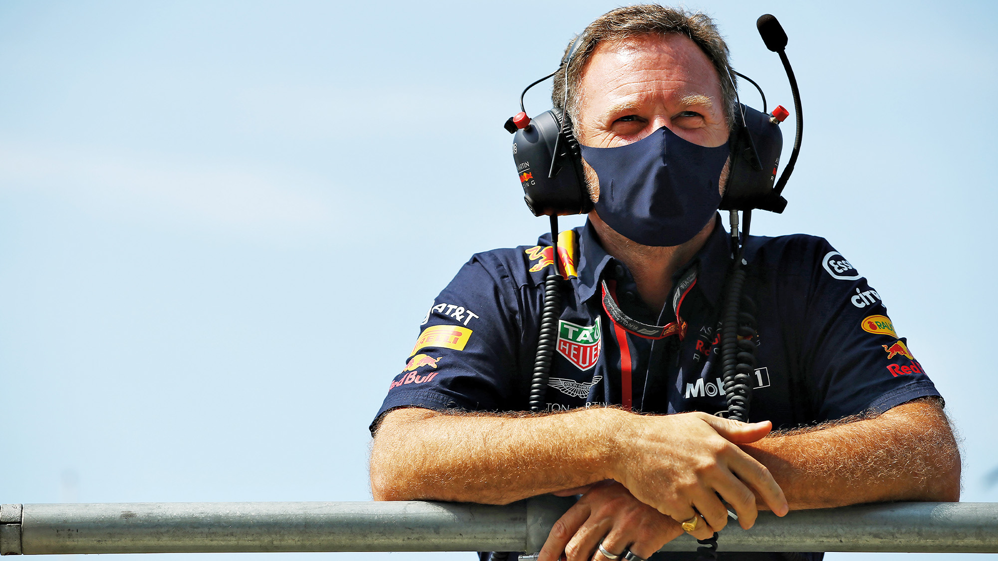 Christian Horner with mask and earphones
