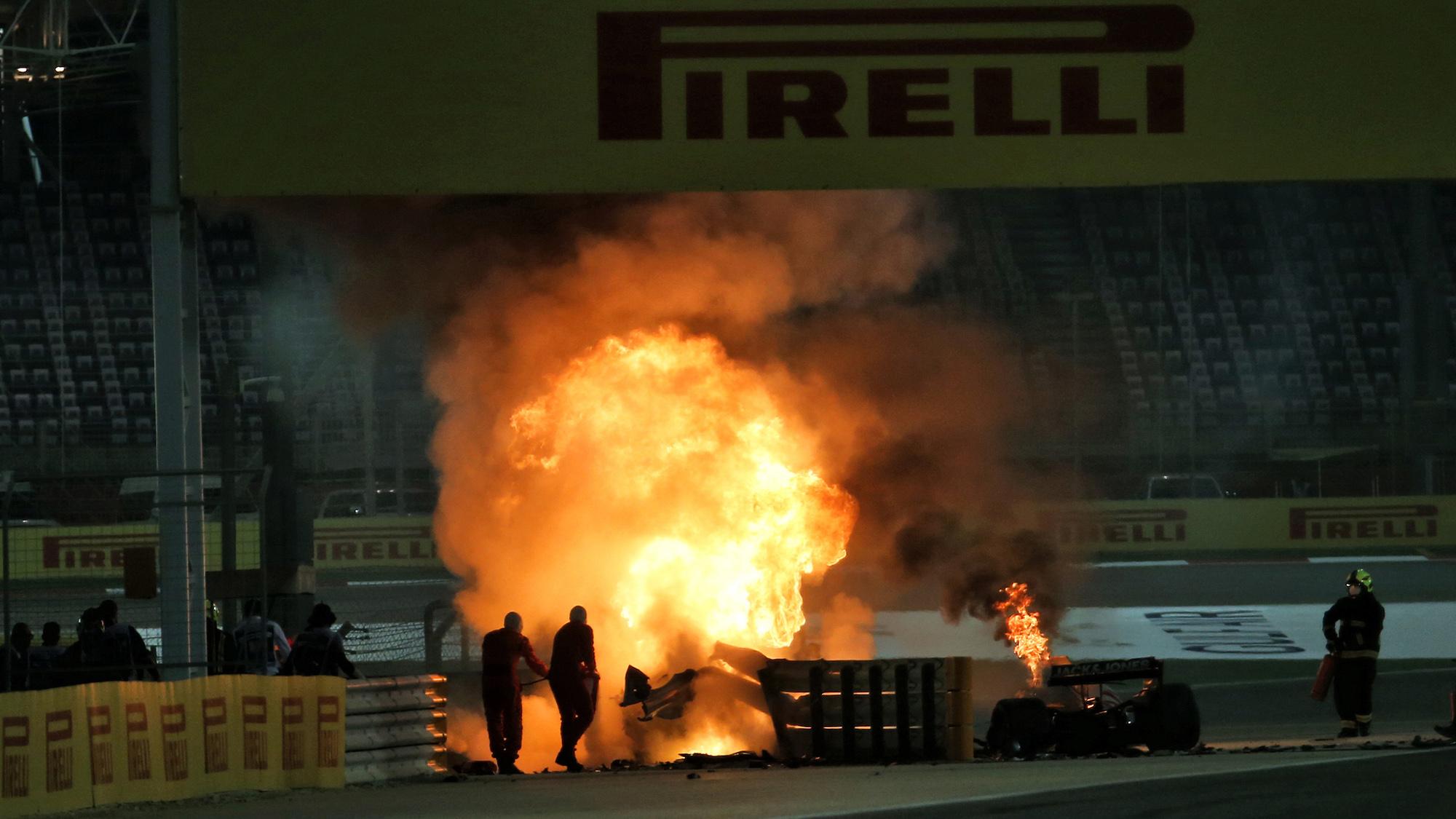Romain Grosjean's Haas in flames at the 2020 F1 Bahrain Grand Prix