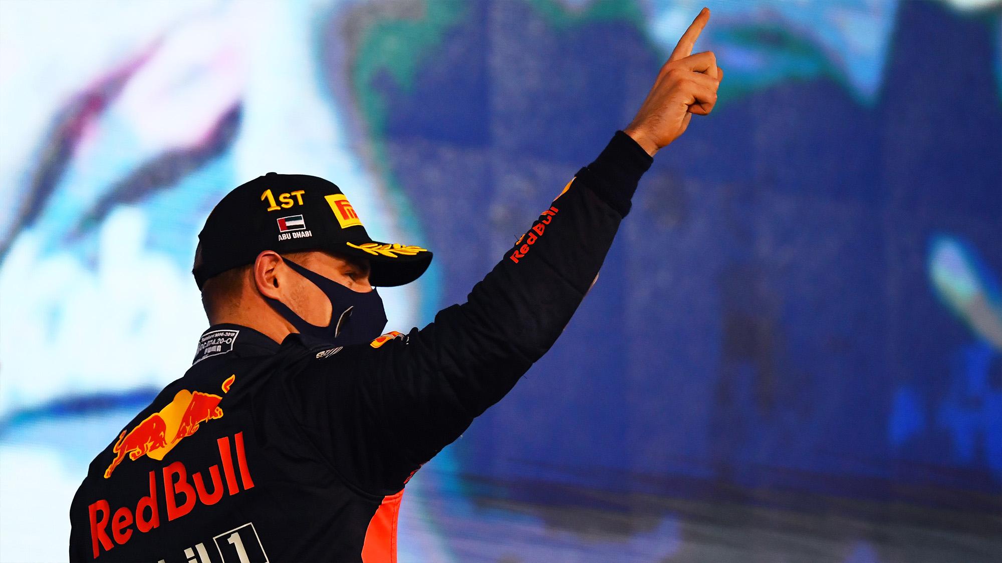 Max Verstappen salutes as the winner of the 2020 Abu Dhabi Grand Prix