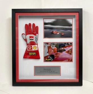 Product image for Ferrari glove presentation | Michael Schumacher signed | framed