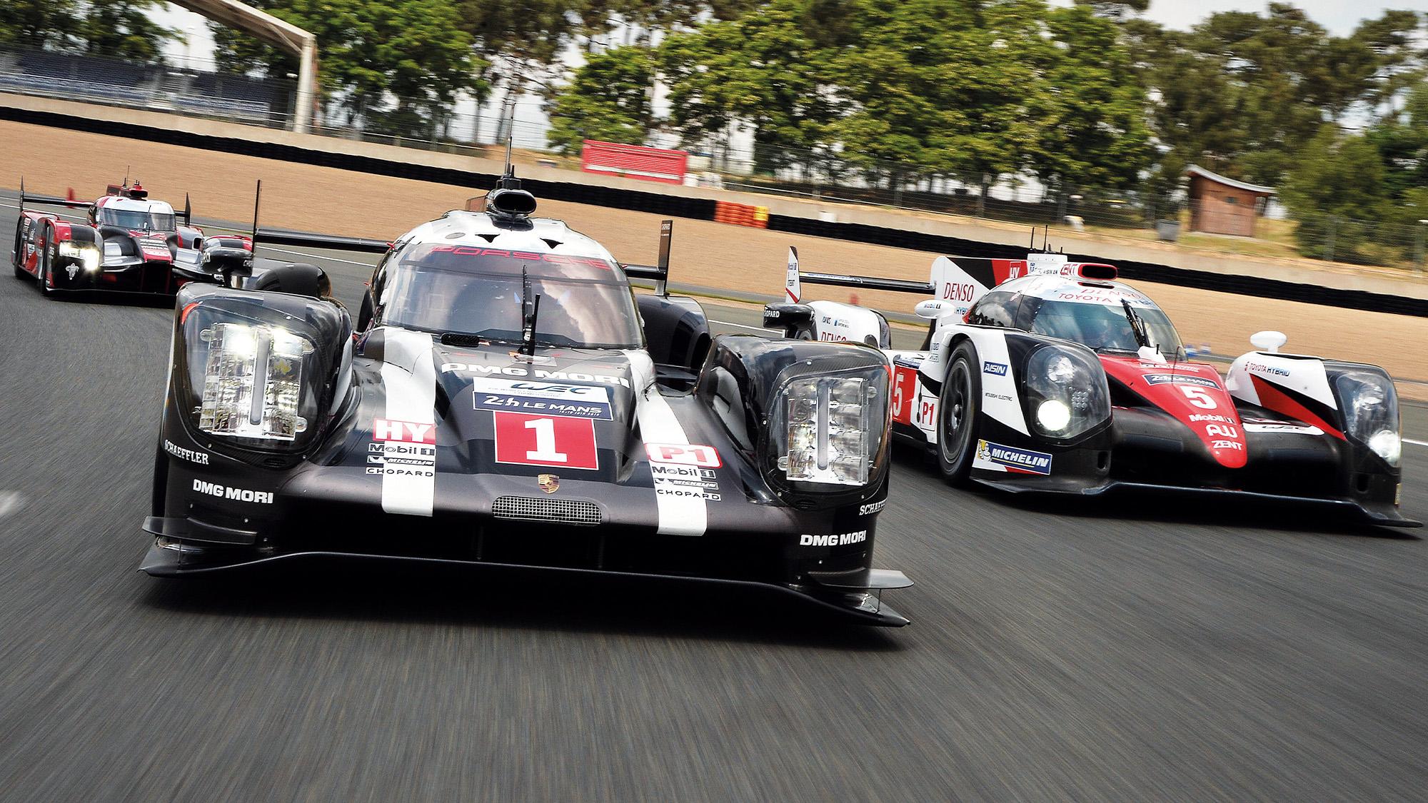Audi Toyota and Porsche LMP1 cars