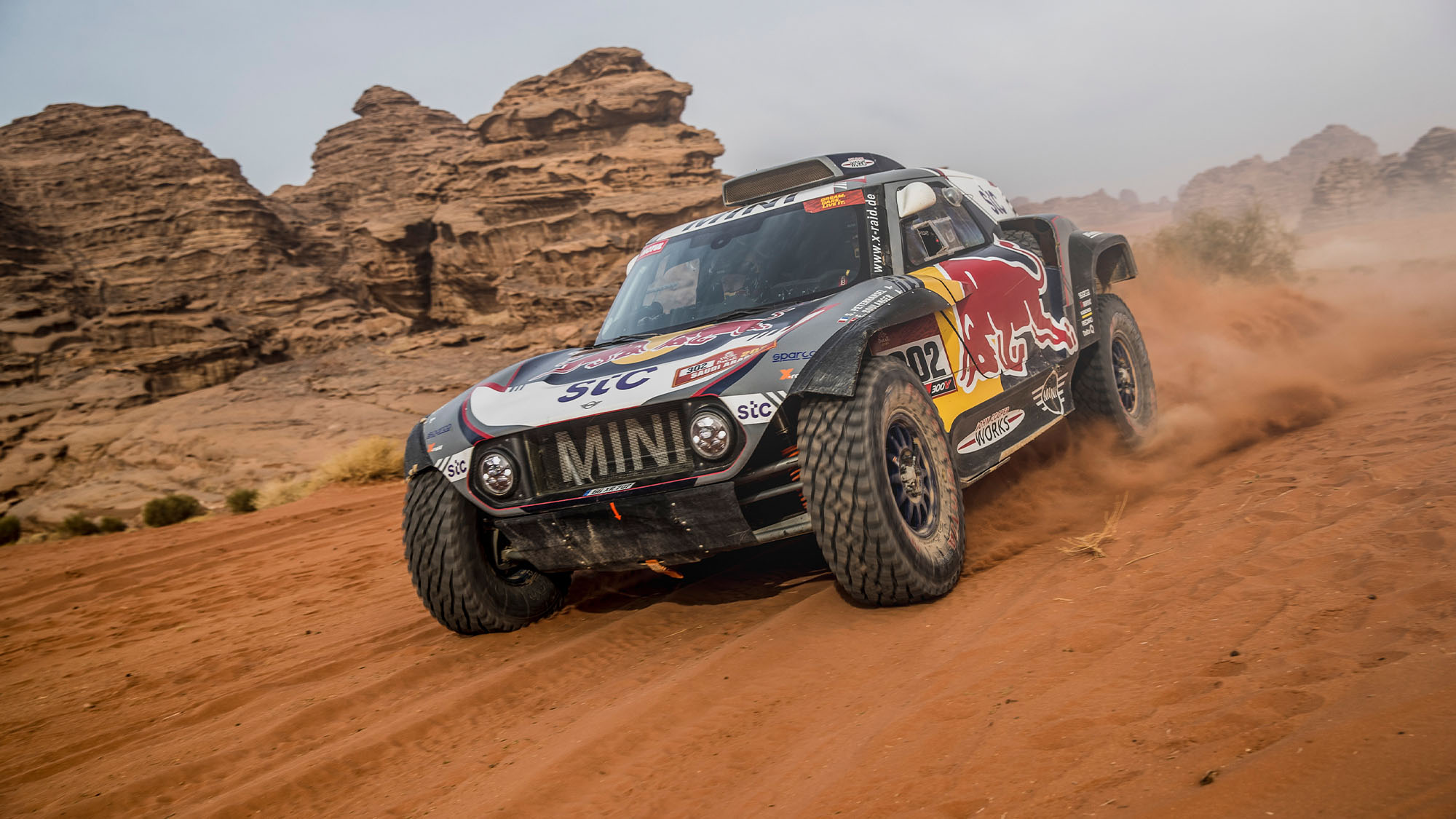Stephane Peterhansel and Edouard Boulanger in the Mini Buggy of the X-Raid Mini JCW Team races during the 10th stage of the Dakar 2021 between Neom and Al-ʿUla, in Saudi Arabia on January 13, 2021.