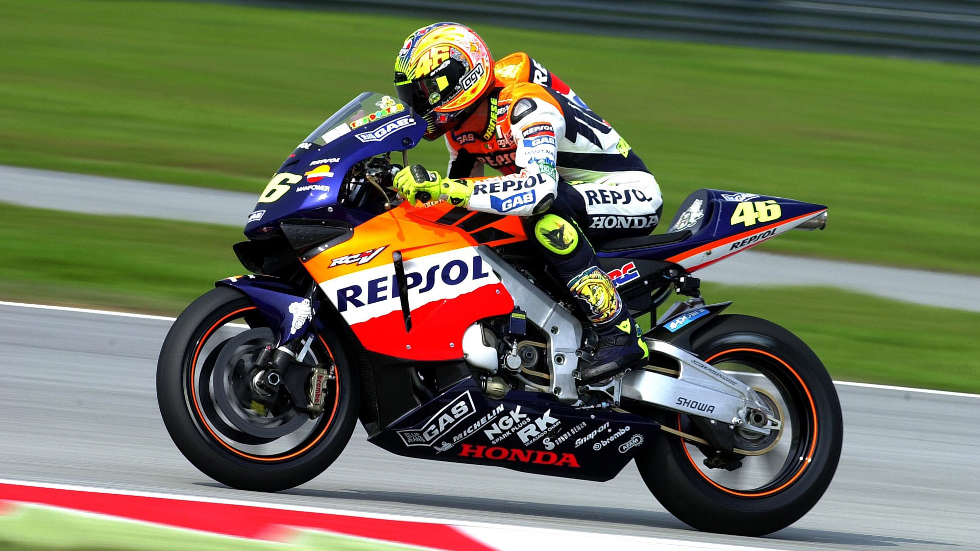 Valentino Rossi on his Honda in 2002