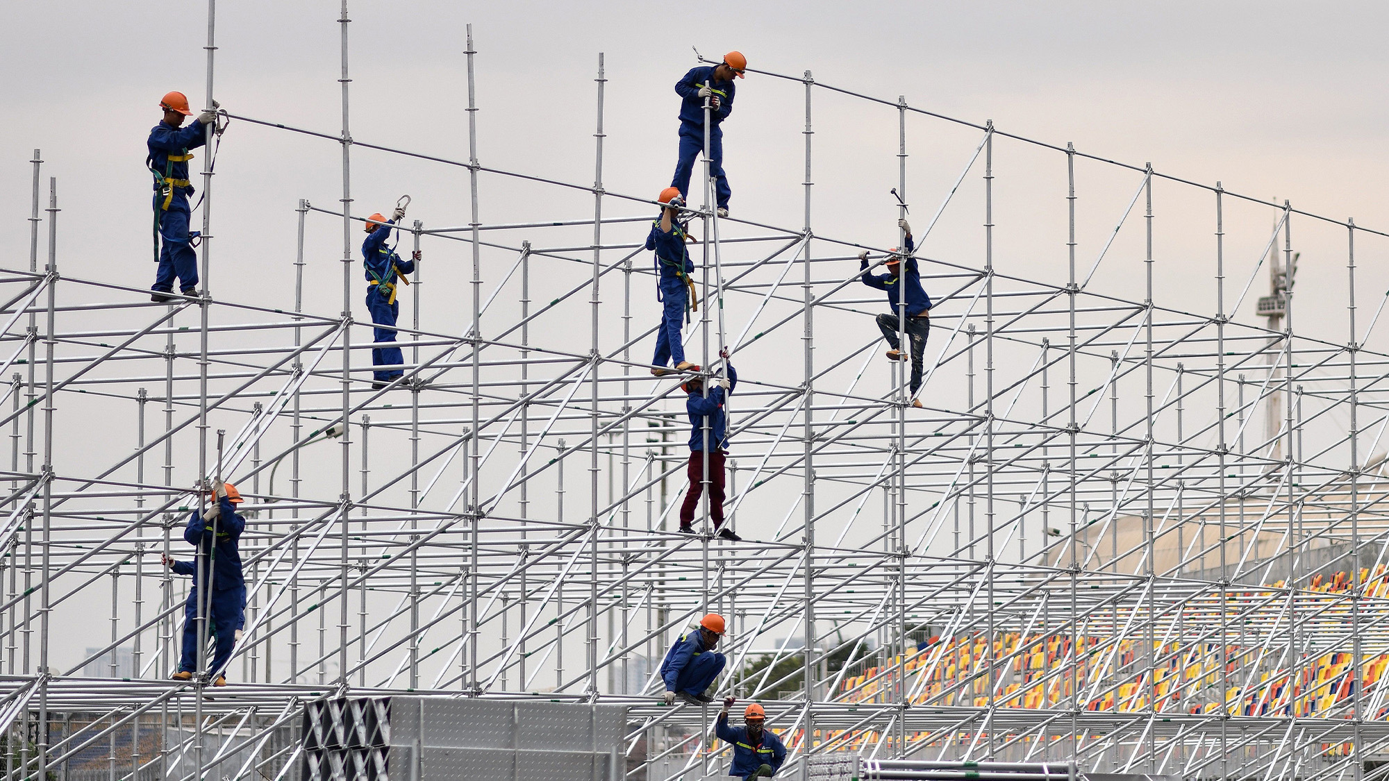 Workers erect scaffolding at the Hanoi street circuit in Vietnam