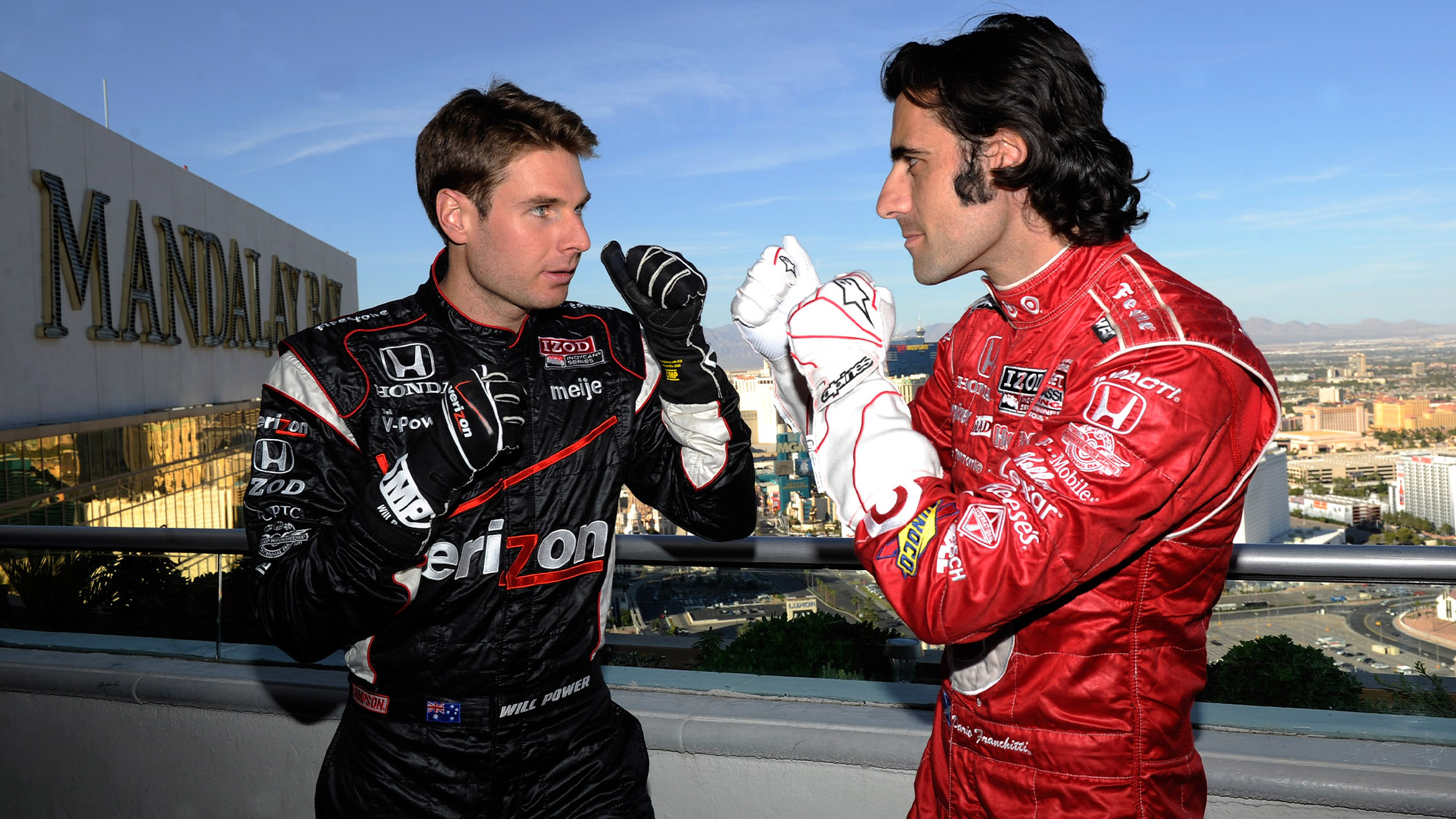 Will Power and Dario Franchitti in a mock fight