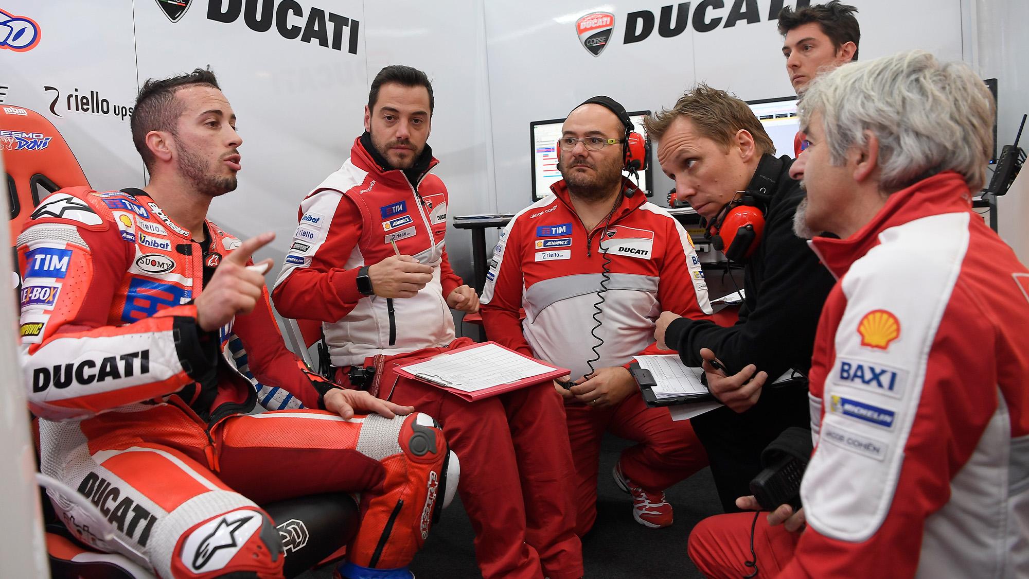 Andrea Dovizioso in Ducati debrief with Peter Bergvall