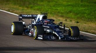 AlphaTauri 2021 F1 car on track at Imola