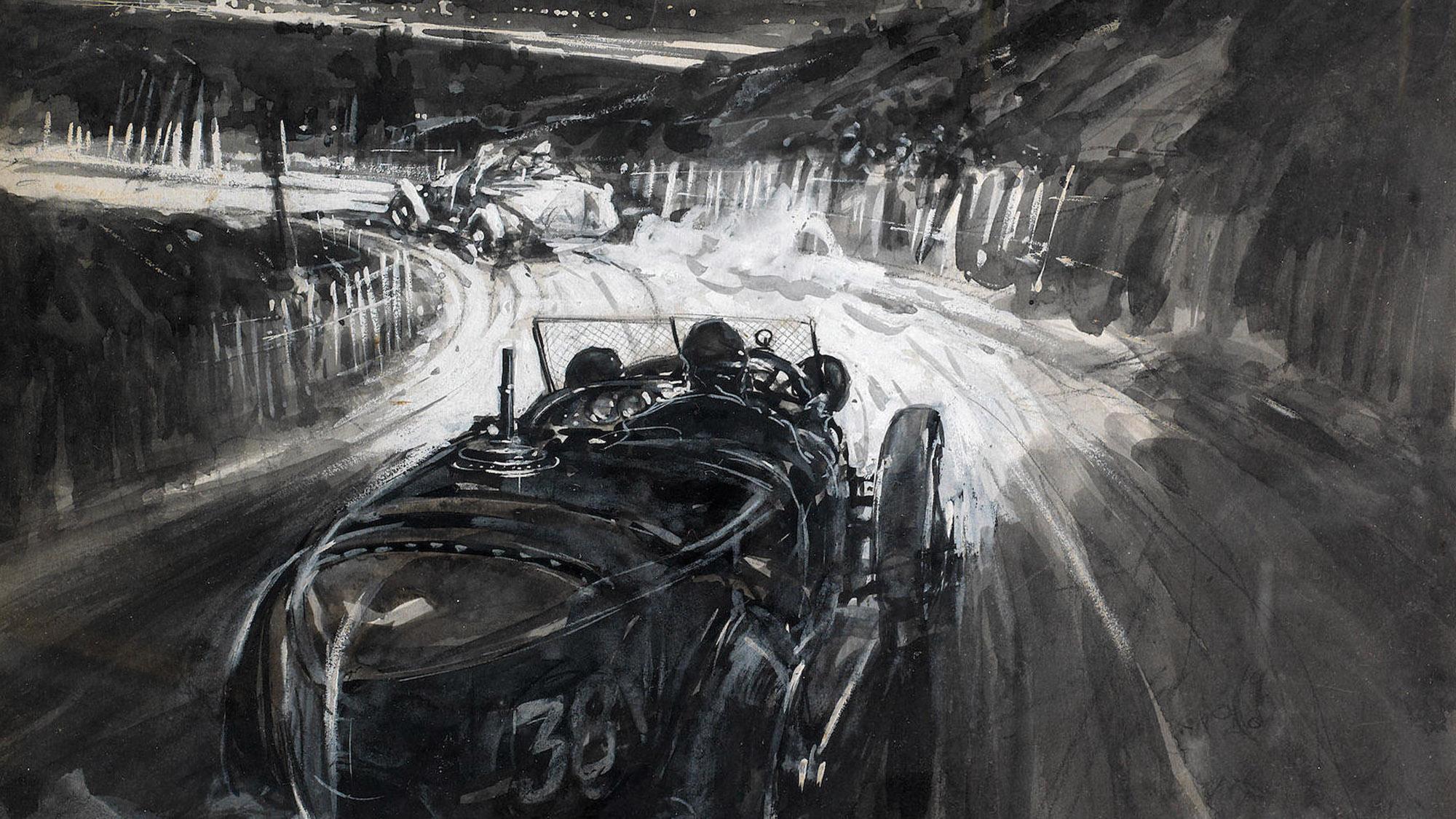 Gordon Crosby drawing of 1924 GP du Tourisme