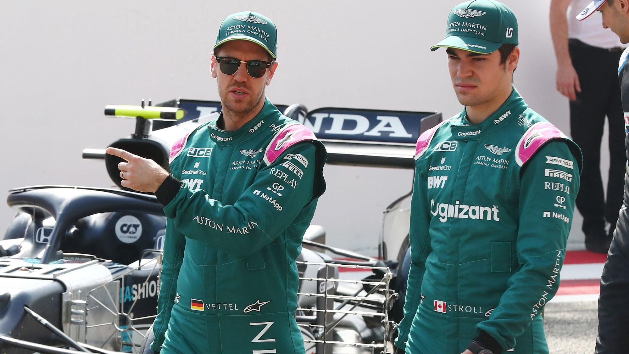 Sebastian Vettel and Lance Stroll testing for Aston Martin in 2021