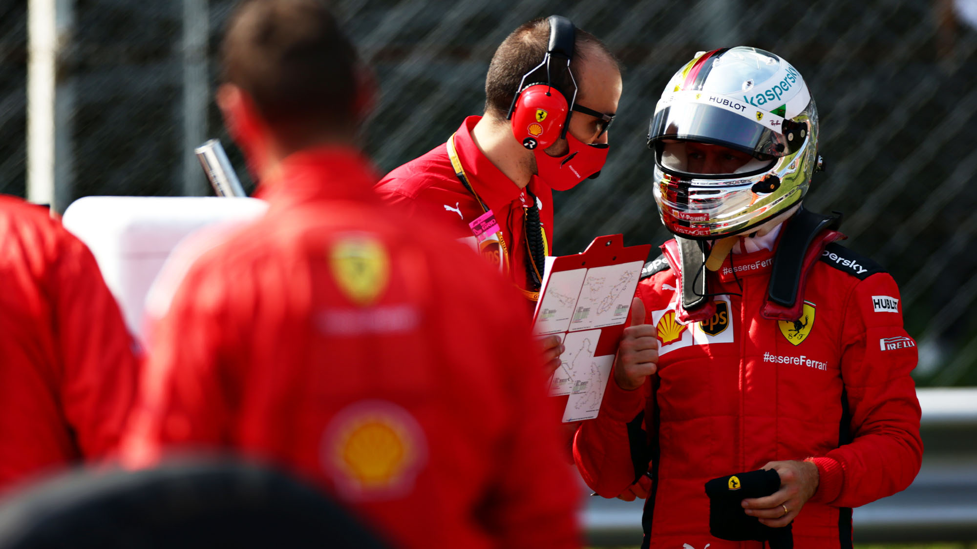 MONZA, ITALY - SEPTEMBER 06: Sebastian Vettel of Germany and Ferrari prepares to drive on the grid before the F1 Grand Prix of Italy at Autodromo di Monza on September 06, 2020 in Monza, Italy. (Photo by Peter Fox/Getty Images)