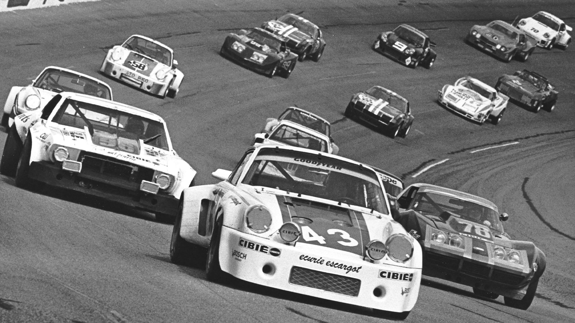 DAYTONA BEACH, FL — February 5, 1977: From 12th on the grid, the No. 43 Porsche 911 Carrera RSR of Dave Helmick, Hurley Haywood and John Graves gets set for the start of the 24 Hour Pepsi Challenge at Daytona International Speedway. The team would go on to win the race. (Photo by ISC Images & Archives via Getty Images)