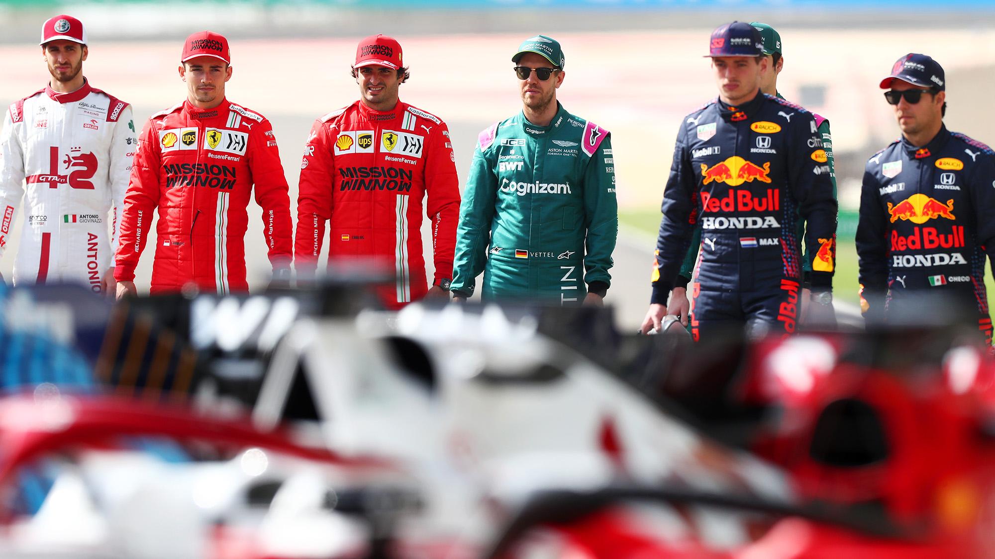 Giovinazzzi Leclerc Sainz Vettel Perez and Verstappen ahead of 2021 F1 season