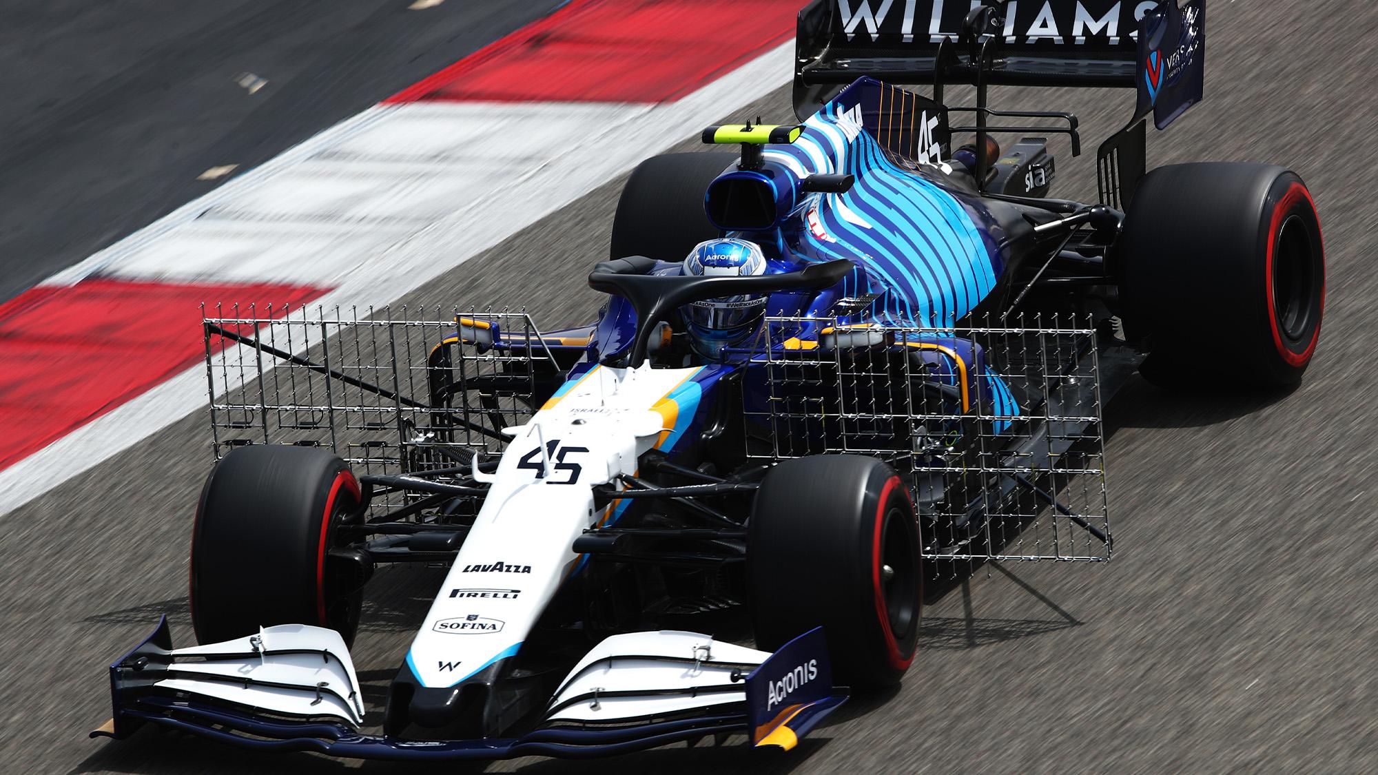 Williams with aero rake in 2021 F1 testing