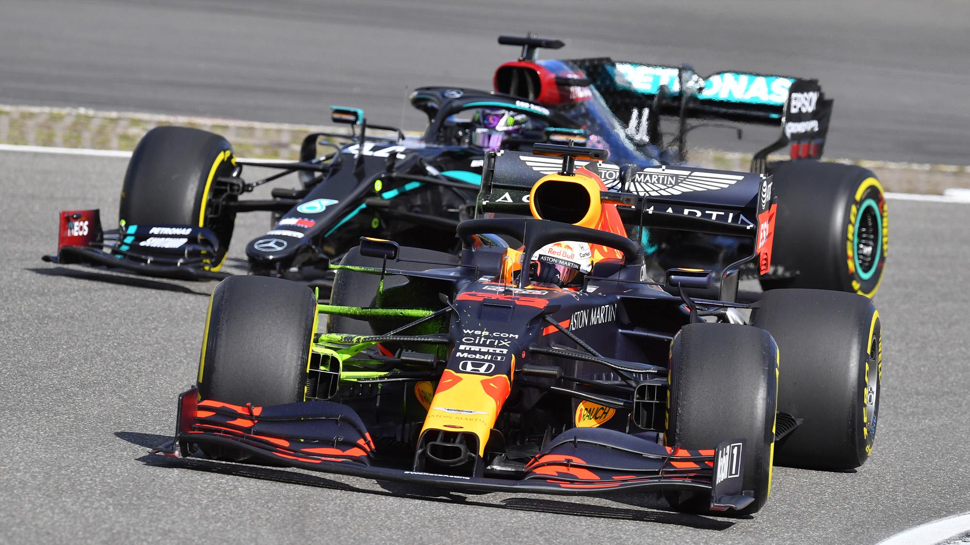 Max Verstappen and Lewis Hamilton in 2021 preseason test