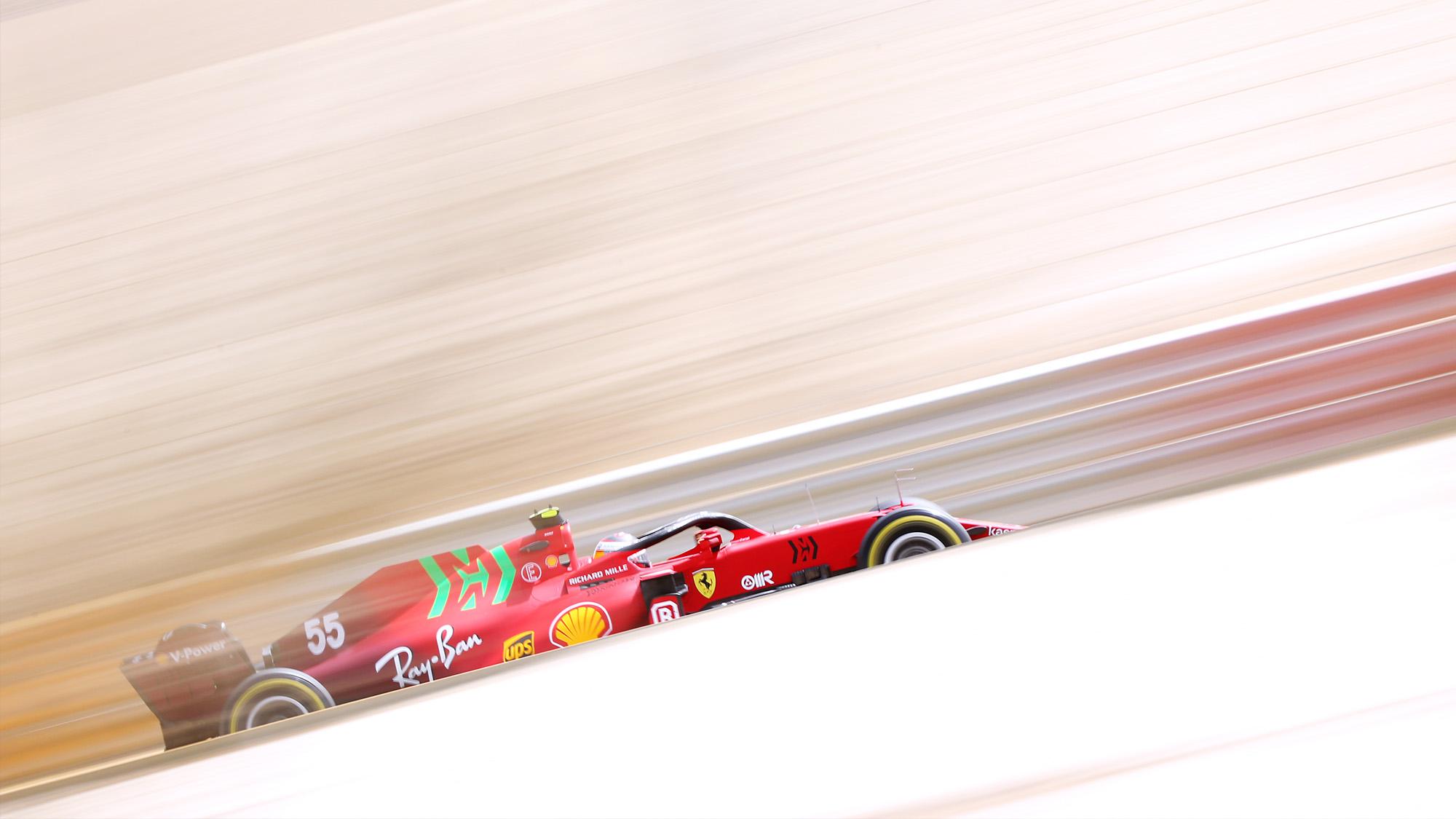 Carlos Sainz in 2021 Ferrari at Bahrain test