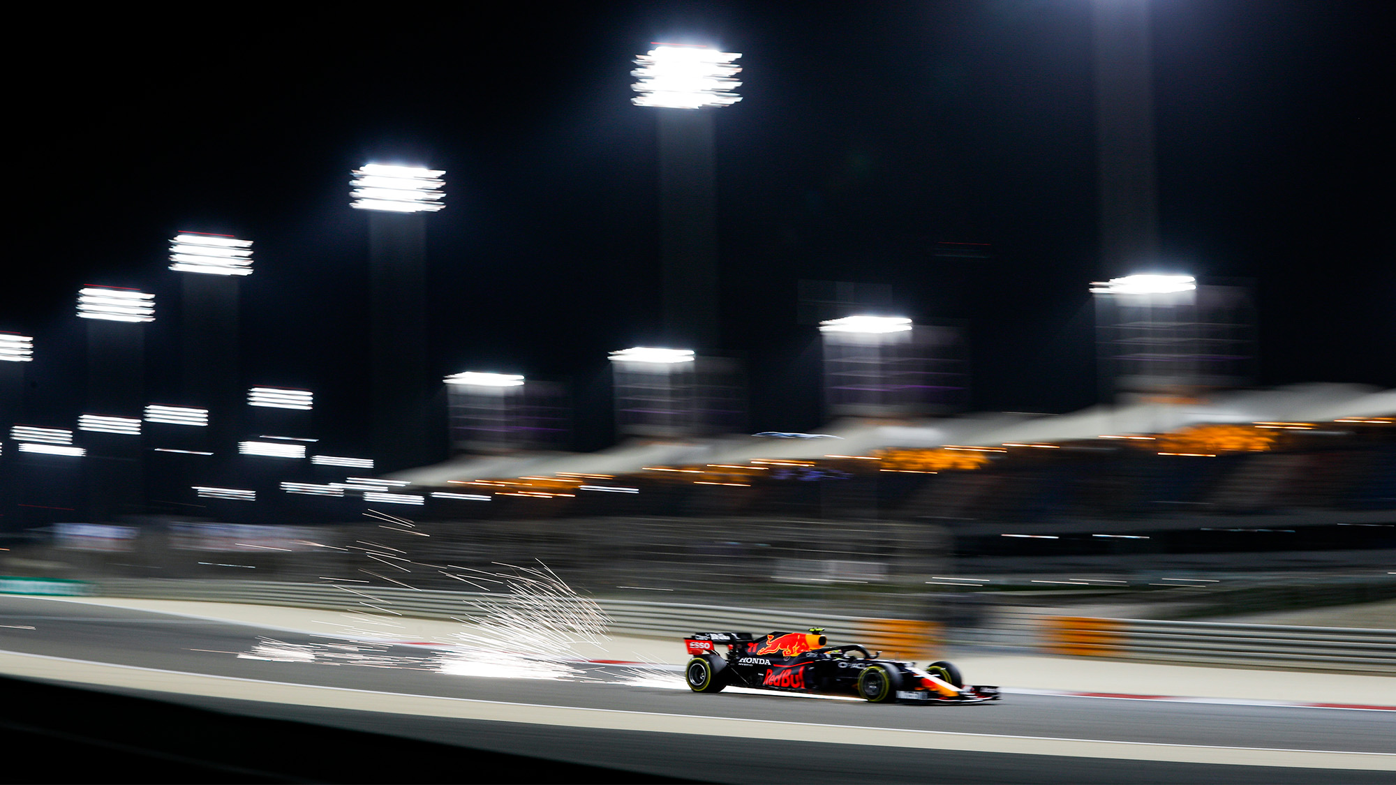 Sparks fly from Sergio Perez Red Bull in qualifying for the 2021 Bahrain Grand Prix
