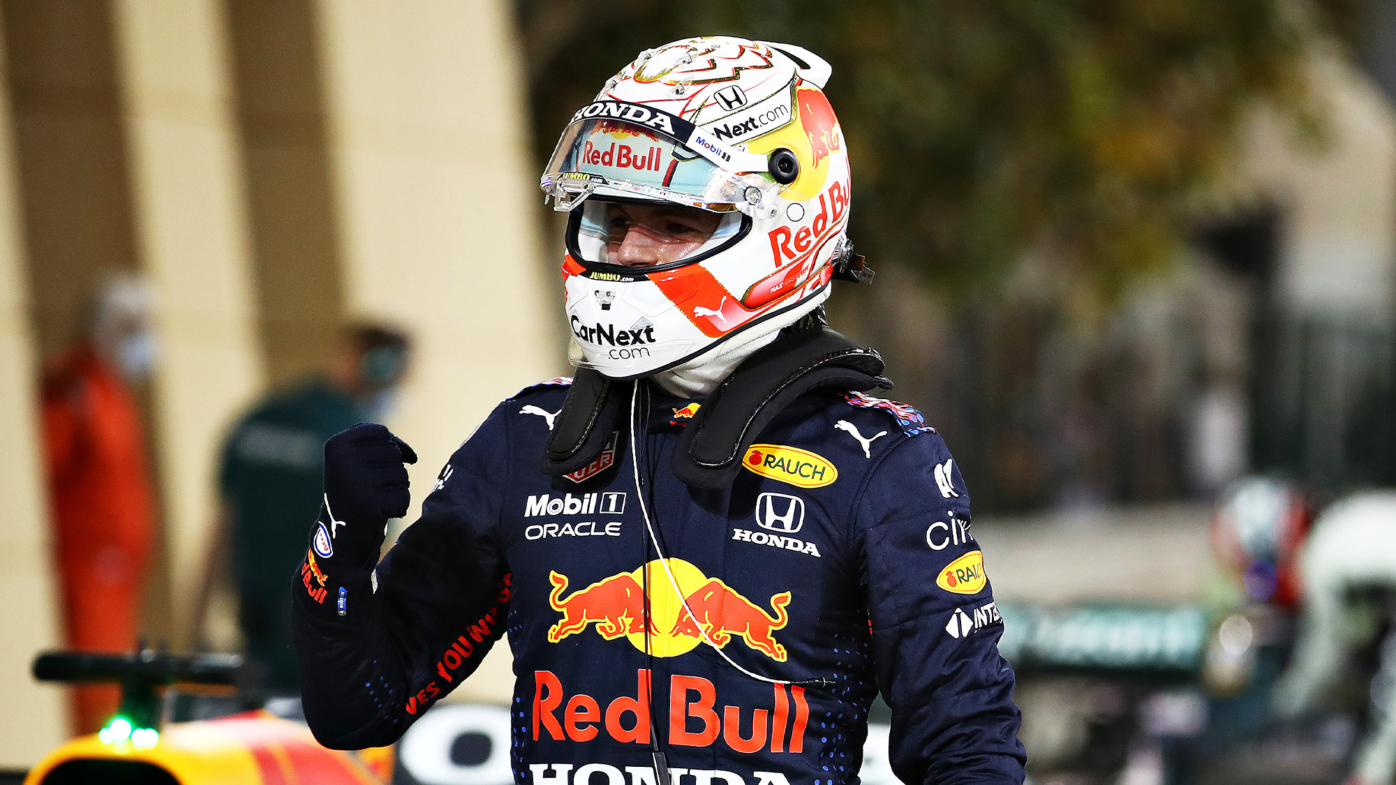 Max Verstappen celebrates clinching pole position for the 2021 Bahrain Grand Prix