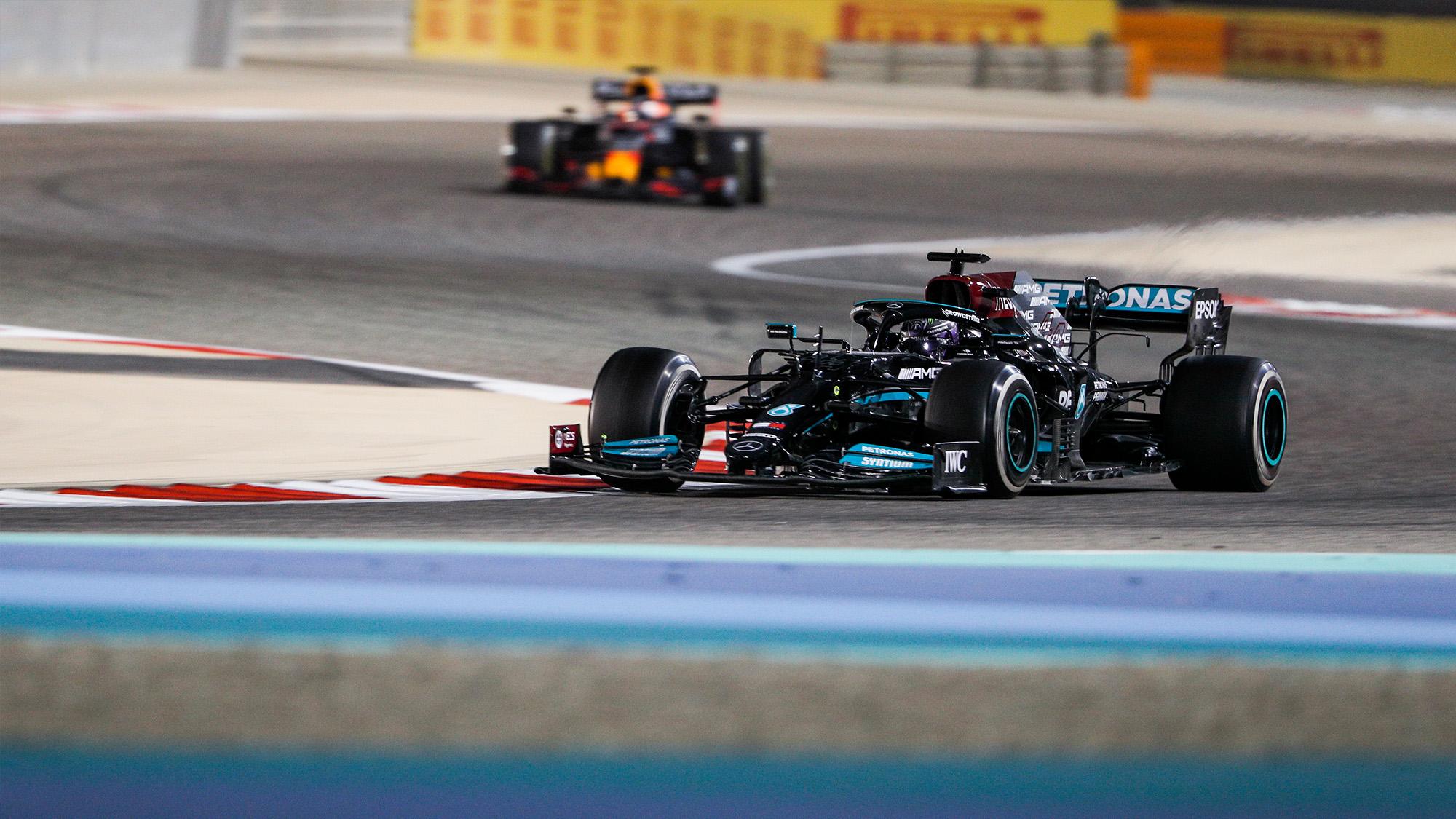 Lewis Hamilton ahead of Max Verstappen in the 2021 Bahrain Grand Prix