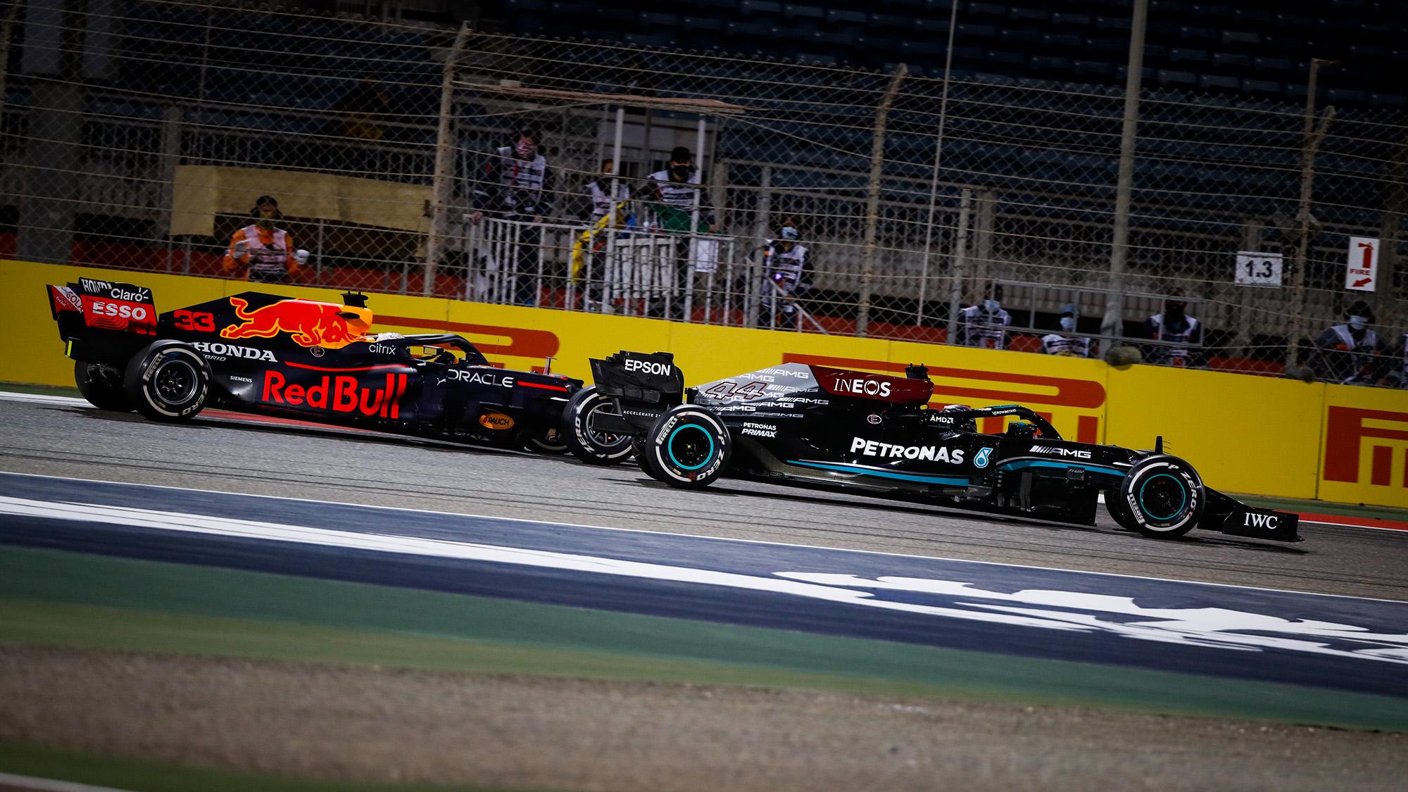 Max Verstappen and Lewis Hamilton battle in the 2021 Bahrain Grand Prix