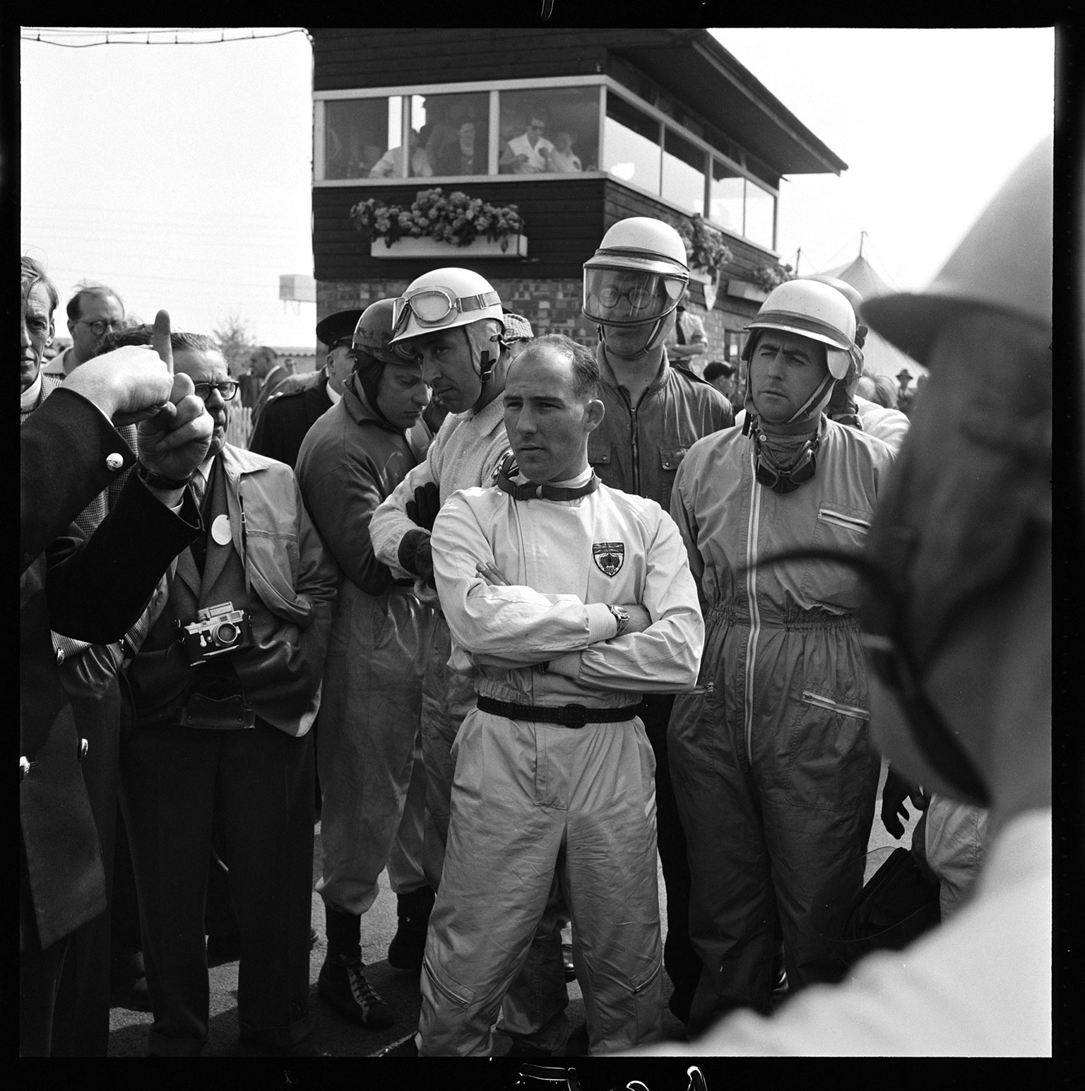 Stirling Moss with Jack Brabham at the 1958 Silverstone International Trophy