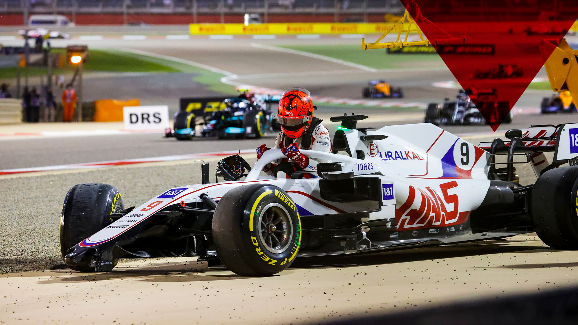 Crash 09 MAZEPIN Nikita (rus), Haas F1 Team VF-21 Ferrari, action during Formula 1 Gulf Air Bahrain Grand Prix 2021 from March 26 to 28, 2021 on the Bahrain International Circuit, in Sakhir, Bahrain - Photo DPPI