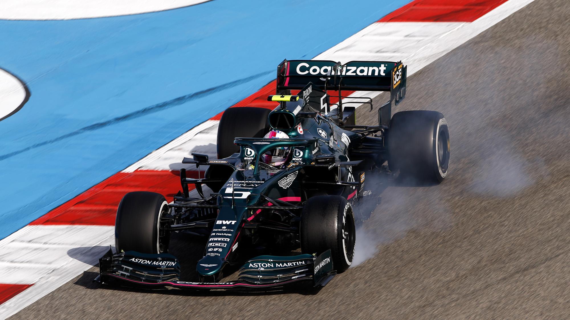 Sebastian Vettel locks up his tyres during the 2021 Bahrain Grand Prix