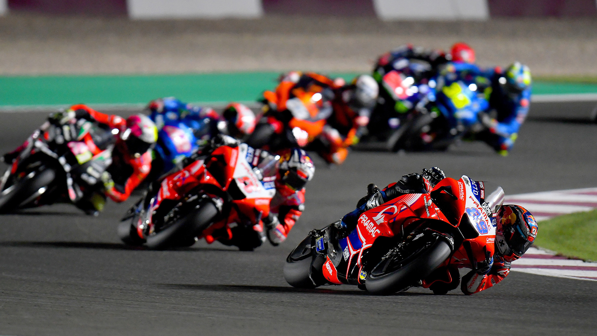 Jorge Martin leads in the 2021 MotoGP Doha race
