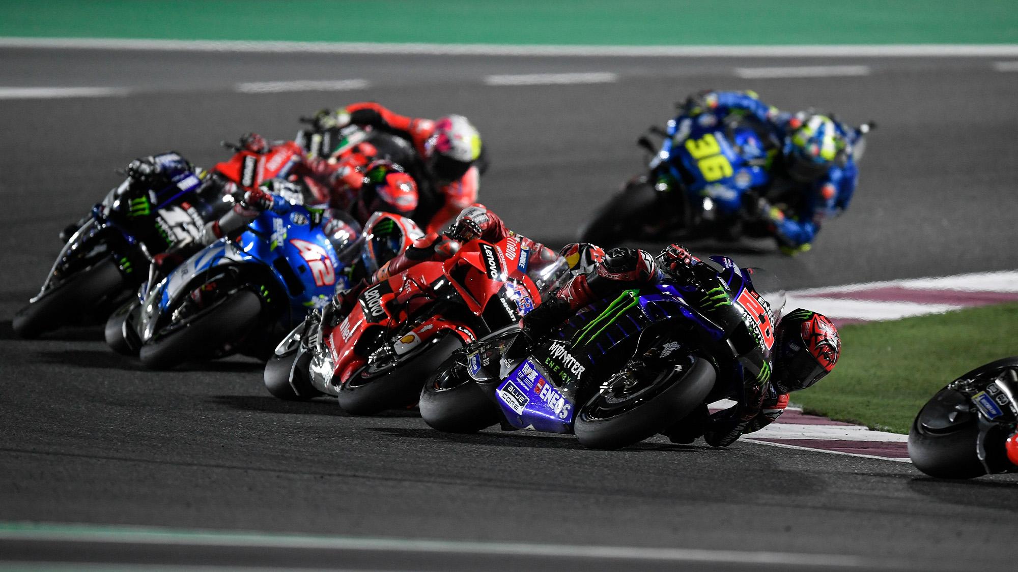 Fabio Quartararo charging through the field during the 2021 MotoGP Doha race