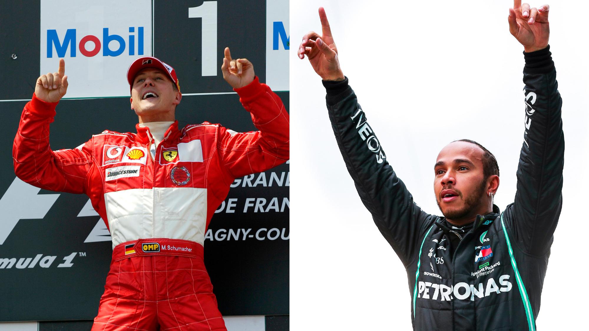 Michael Schumacher, French GP 2004 / Lewis Hamilton, 2020 Turkish GP