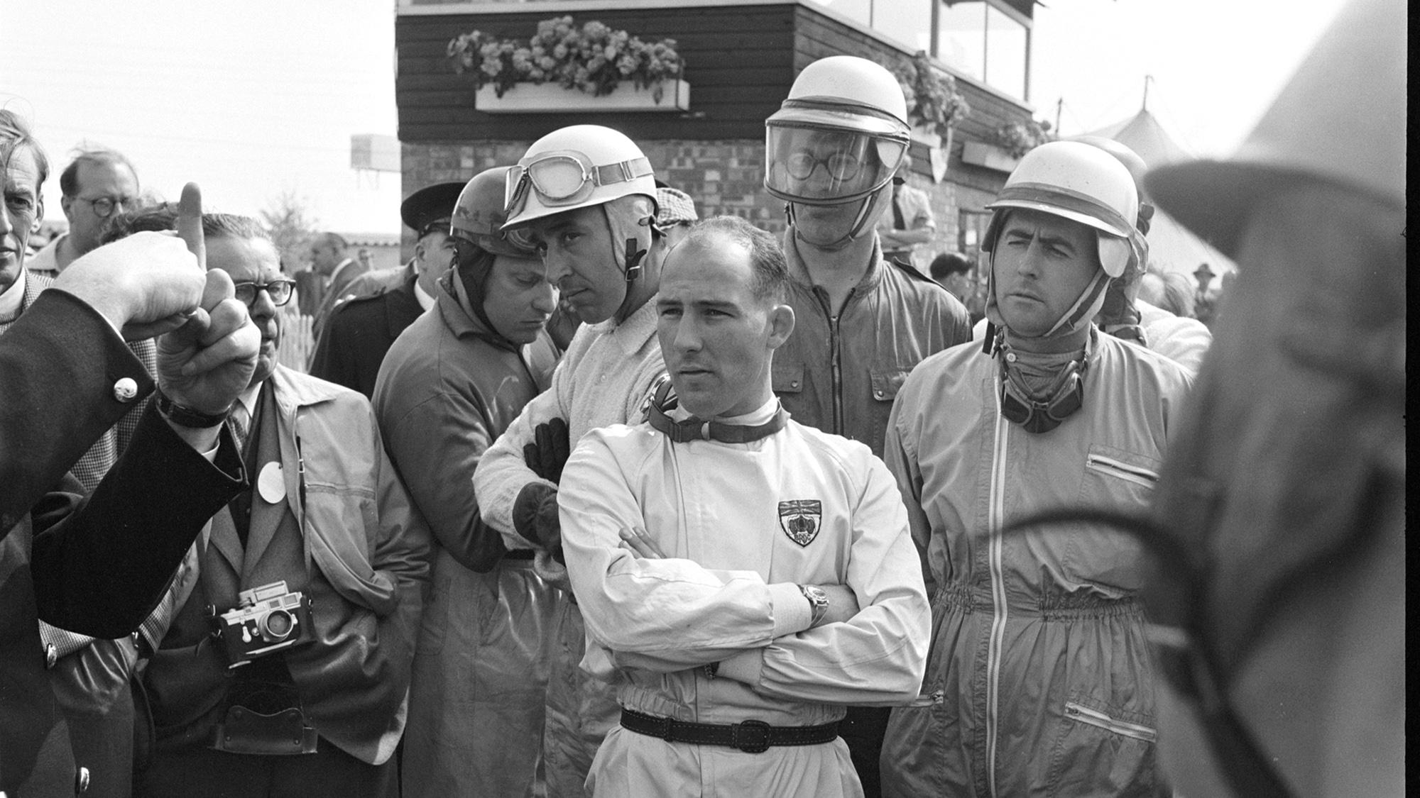 Moss and Brabham at 1961 Silverstan International Trophy