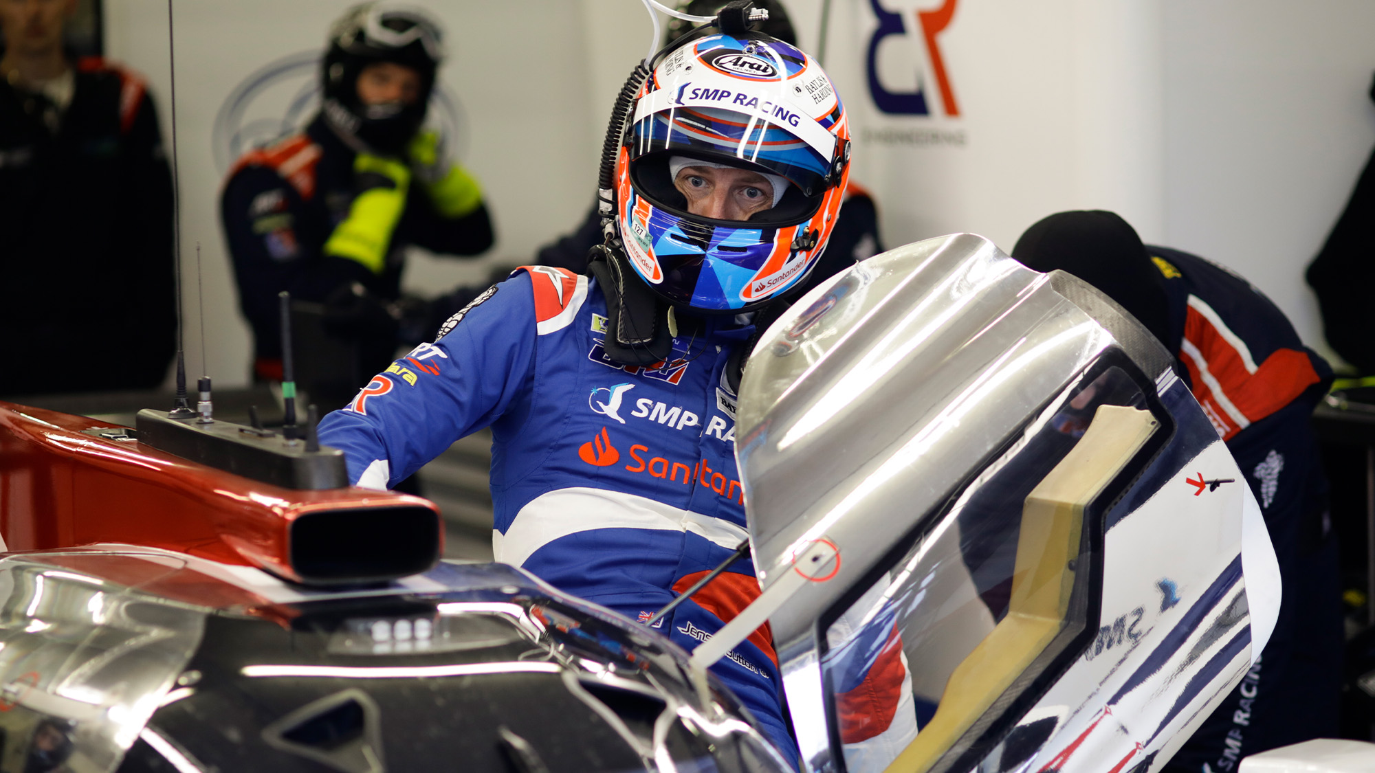 Jenson Button gets into his SMP Racing car at the 2018 Le Mans 24 Hours