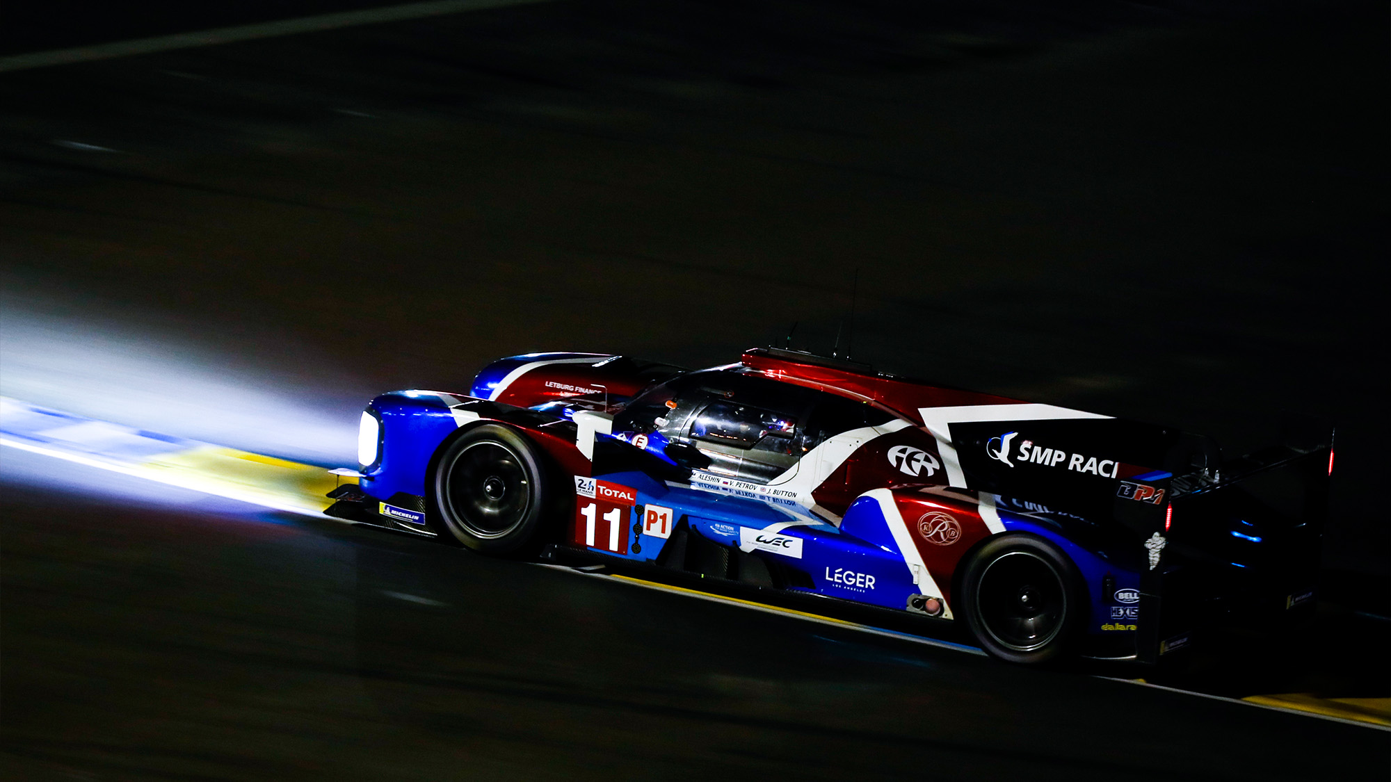 SMP Racing car at night in the 2018 Le Mans 24 Hours