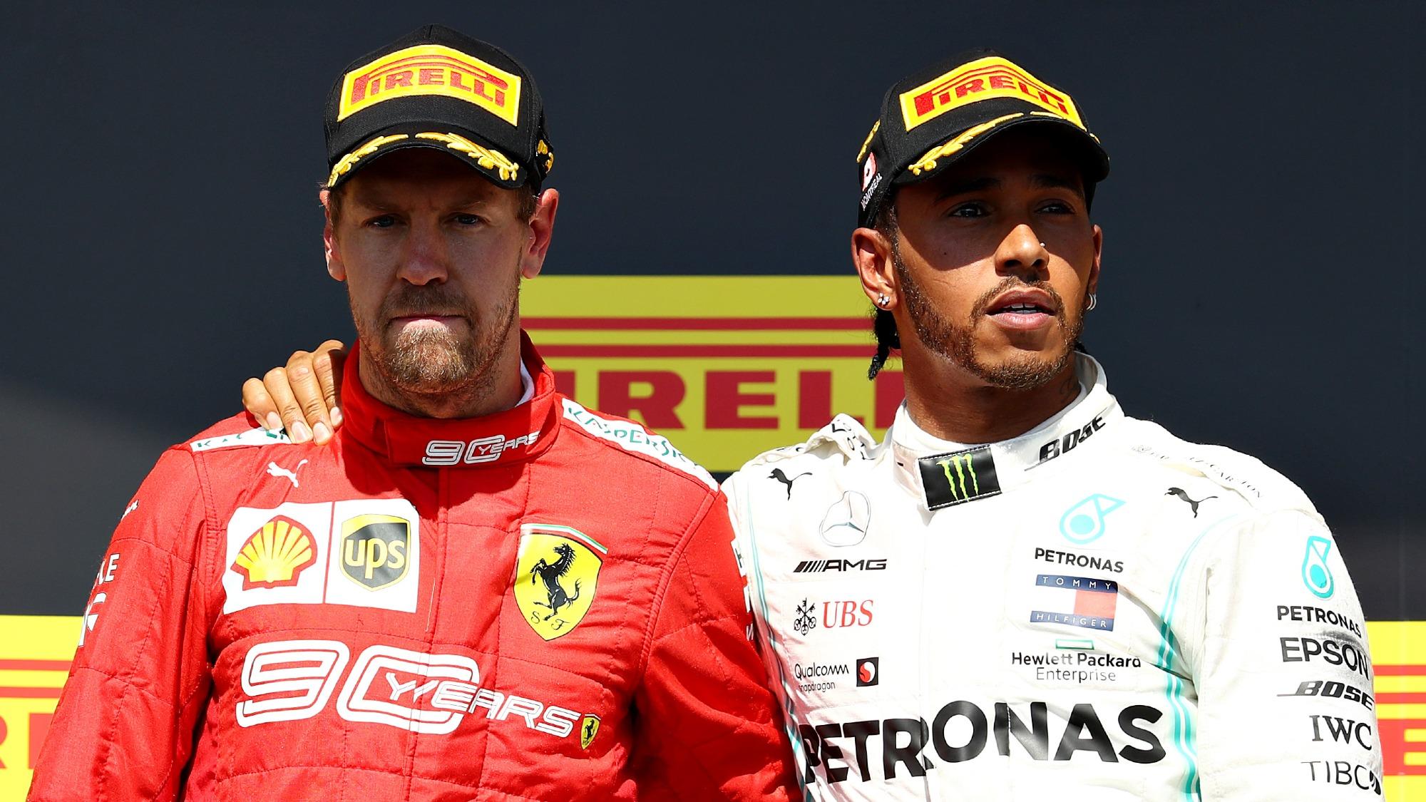 Sebastian Vettel and Lewis Hamilton, 2019 Canadian GP