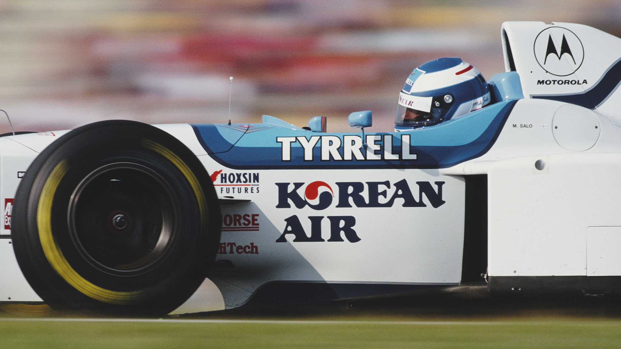 Mika Salo of Finland drives the #19 Tyrrell 024 Yamaha V10 during the Formula One German Grand Prix on 28 July 1996 at the Hockenheimring, Hockenheim, Germany. (Photo by Darren Heath/Getty Images)