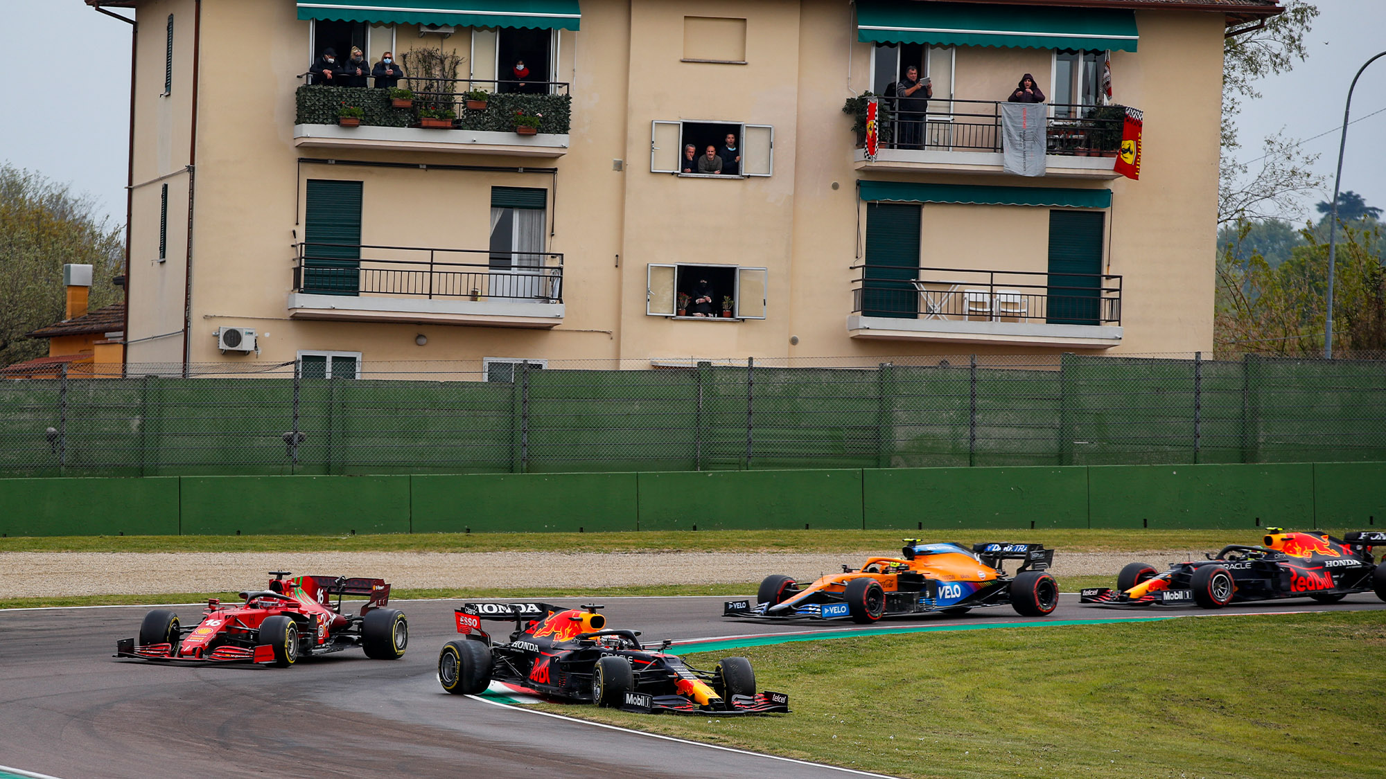 Max Verstappen runs onto the grass at the restart of the 2021 Emilia Romagna Grand Prix