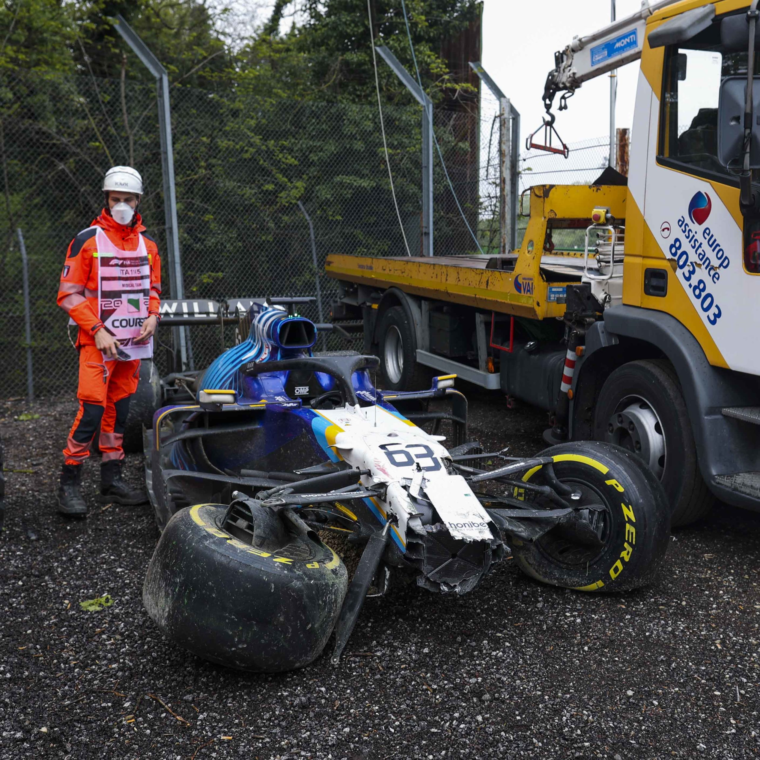 Williams of George Russell after crashing out of the 2021 Emilia Romagna Grand Prix